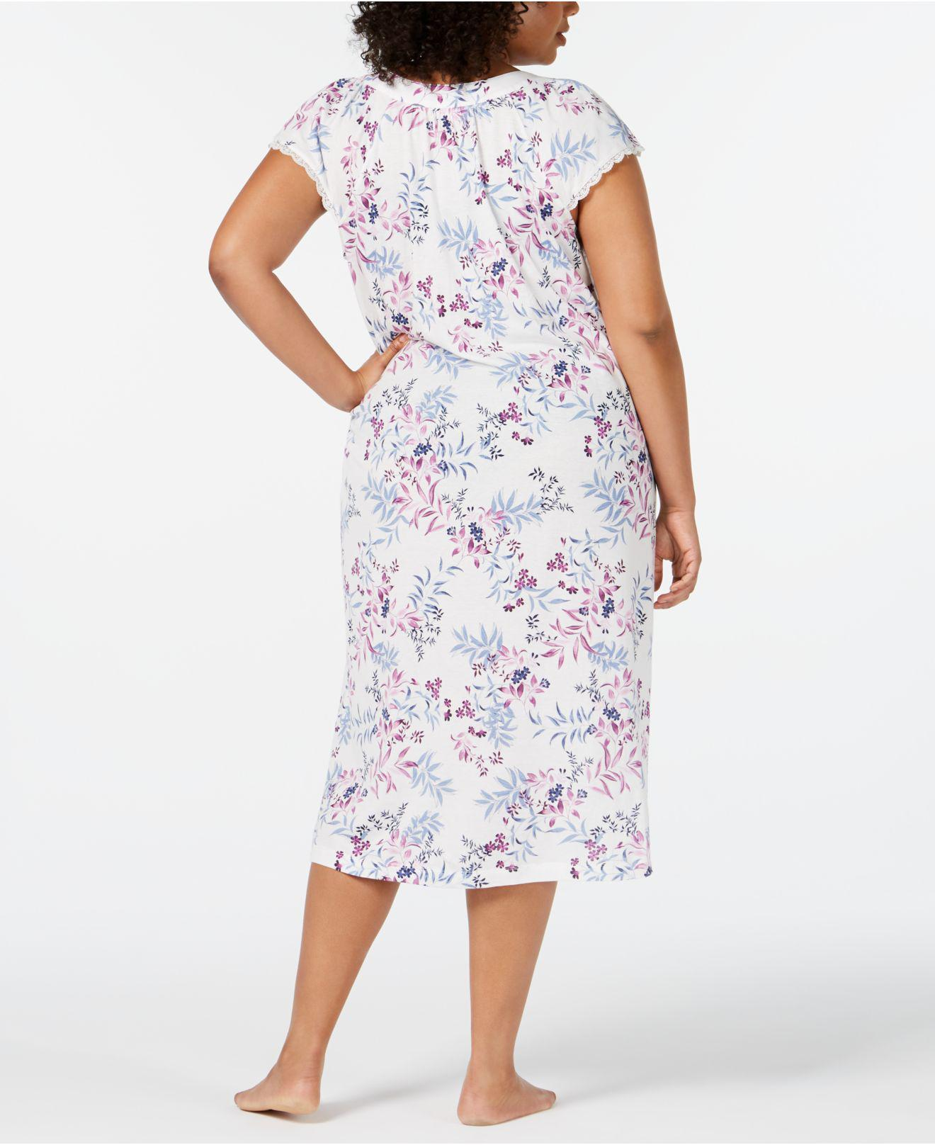 4b72572d1de Lyst - Charter Club Plus Size Flutter-sleeve Printed Knit Nightgown ...
