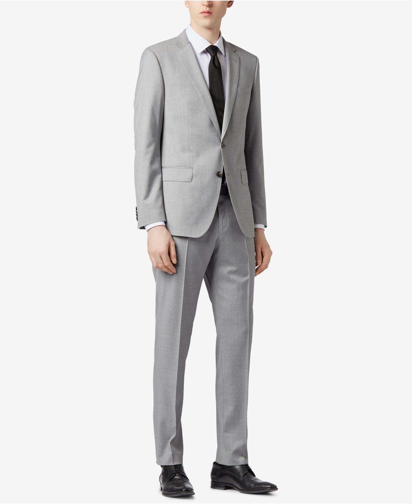 e324e1113 BOSS - Gray Slim-fit Natural Stretch Virgin Wool Suit for Men - Lyst. View  fullscreen