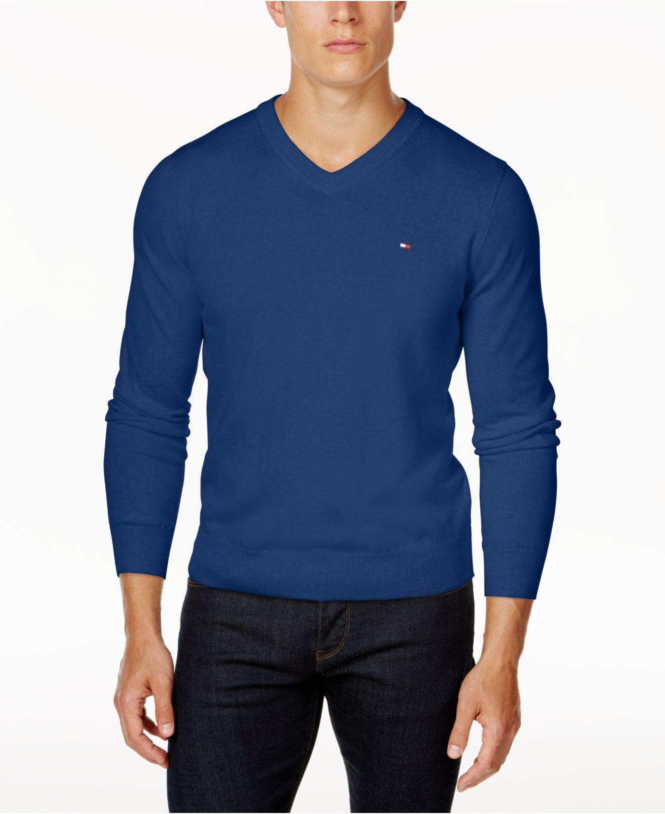 383f9b18d2293 Lyst - Tommy Hilfiger Signature Solid V-neck Sweater in Blue for Men
