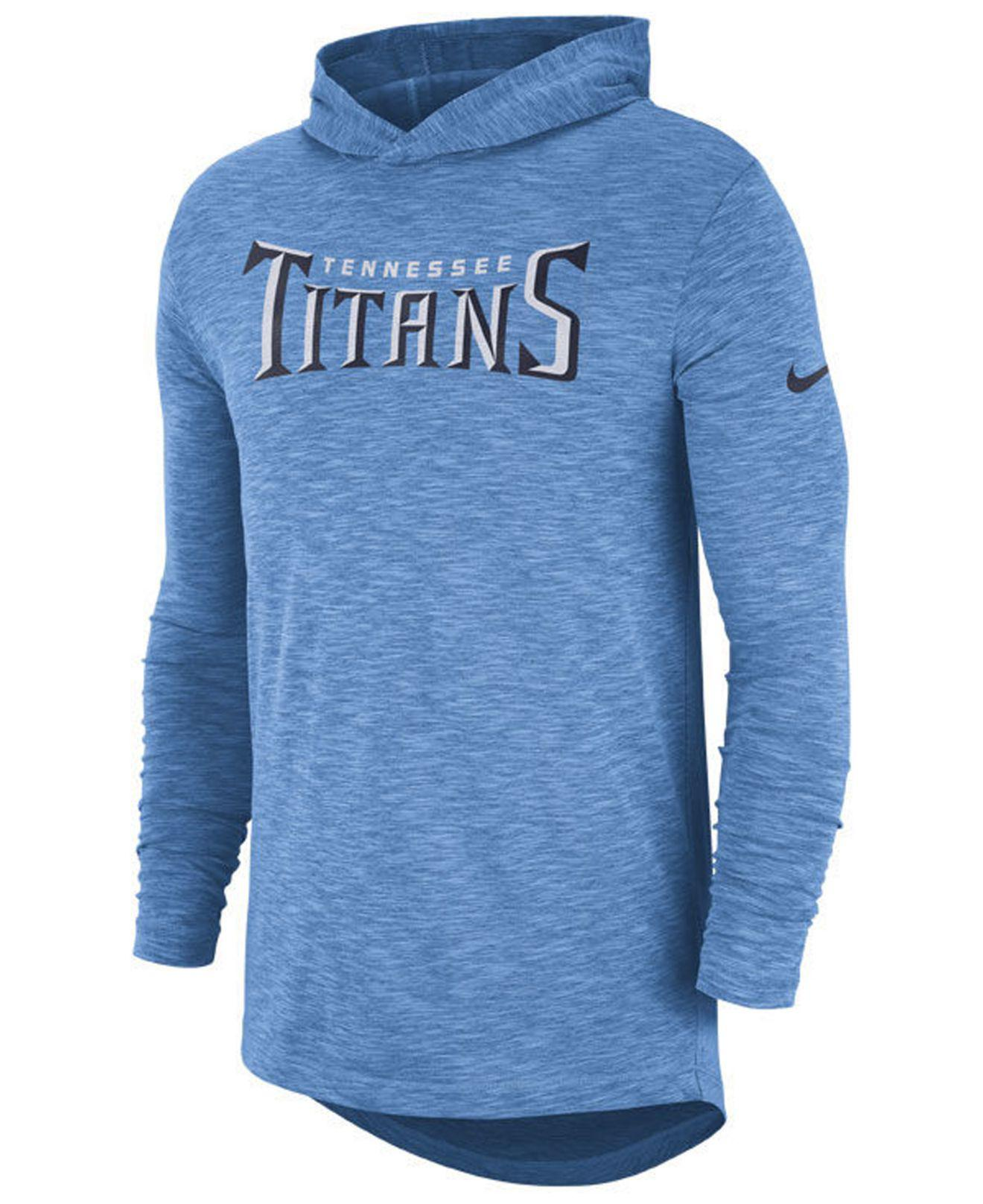 44658cb4c Nike. Men s Blue Tennessee Titans Dri-fit Cotton Slub On-field Hooded T -shirt
