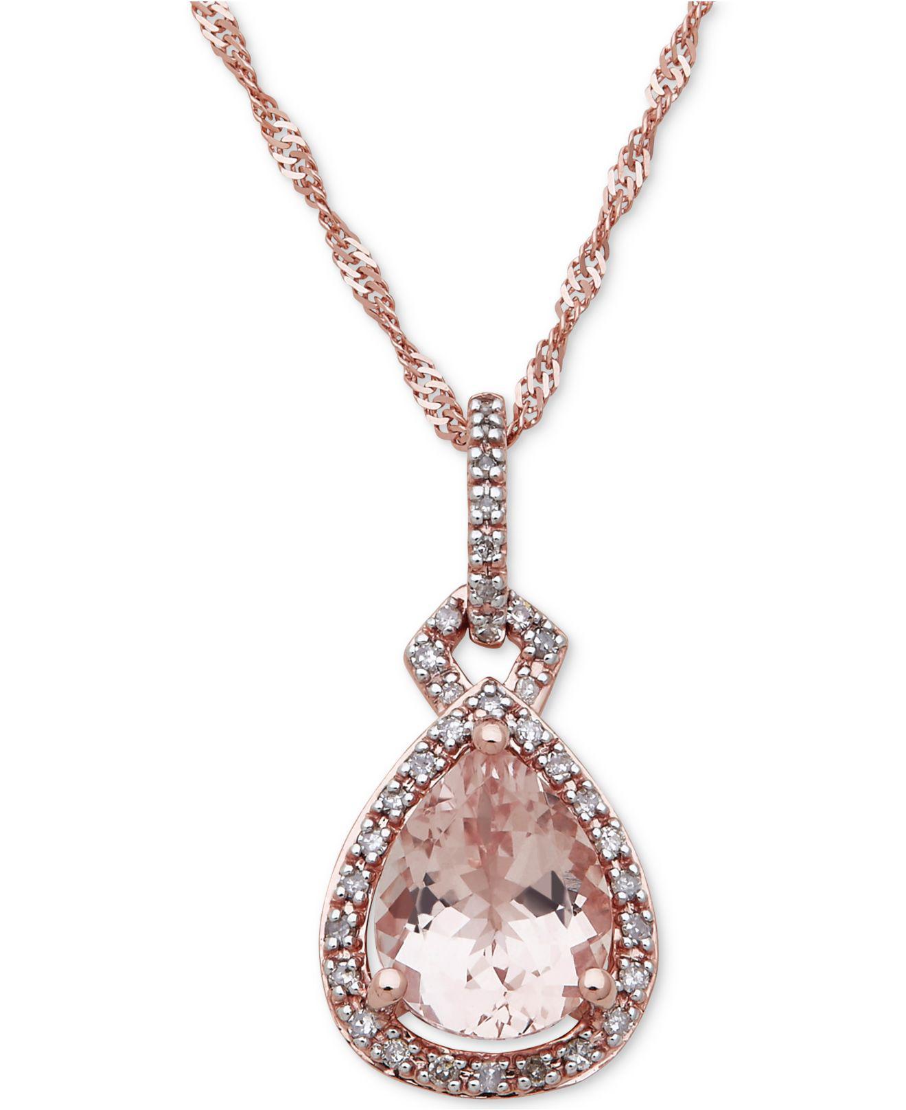 0558e3f0ccfeb Macy's Metallic Morganite (2 Ct. T.w.) & Diamond (1/6 Ct. T.w.) Pendant  Necklace In 10k Rose Gold