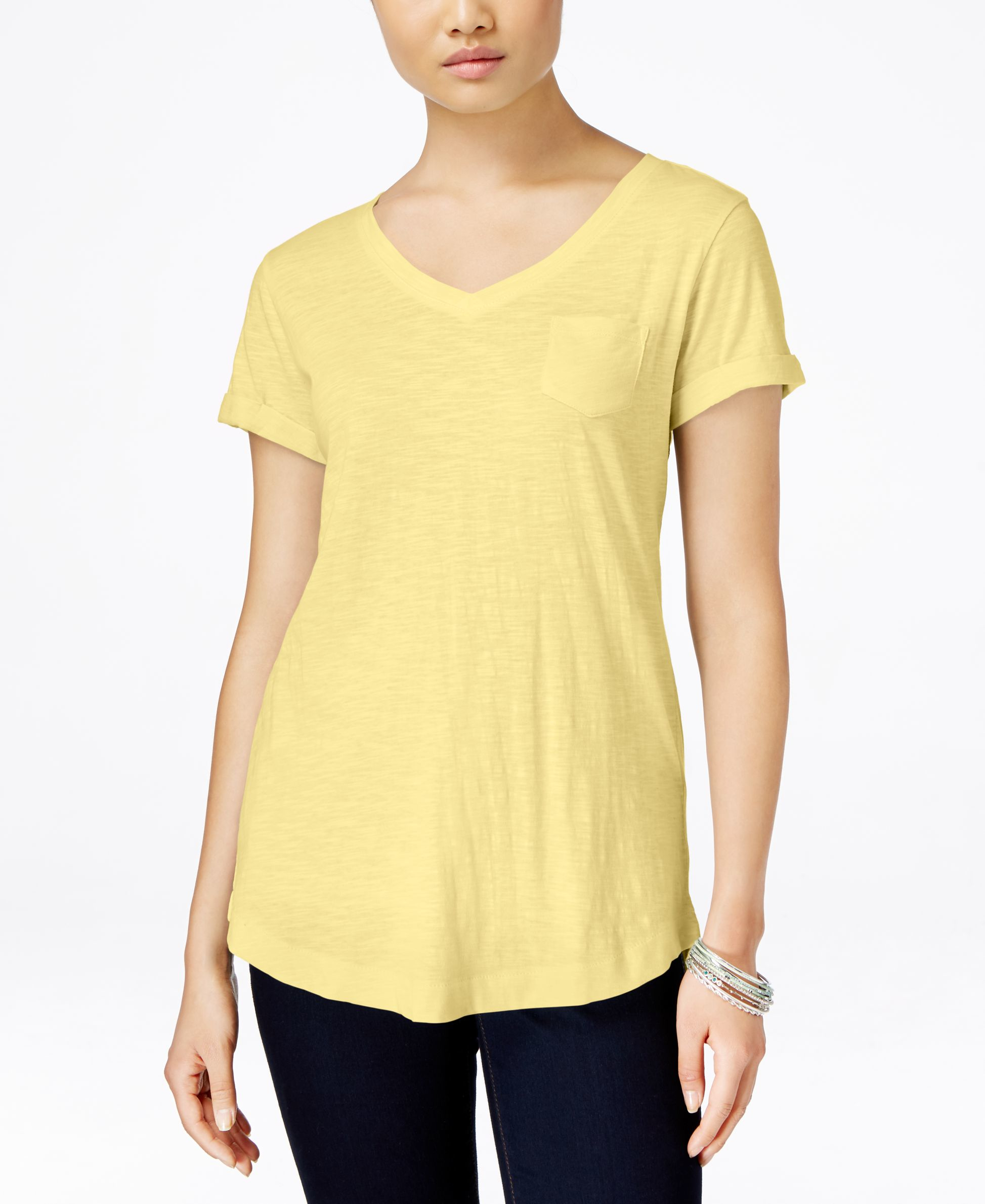 Style Co V Neck T Shirt Only At Macy 39 S In Yellow Lyst