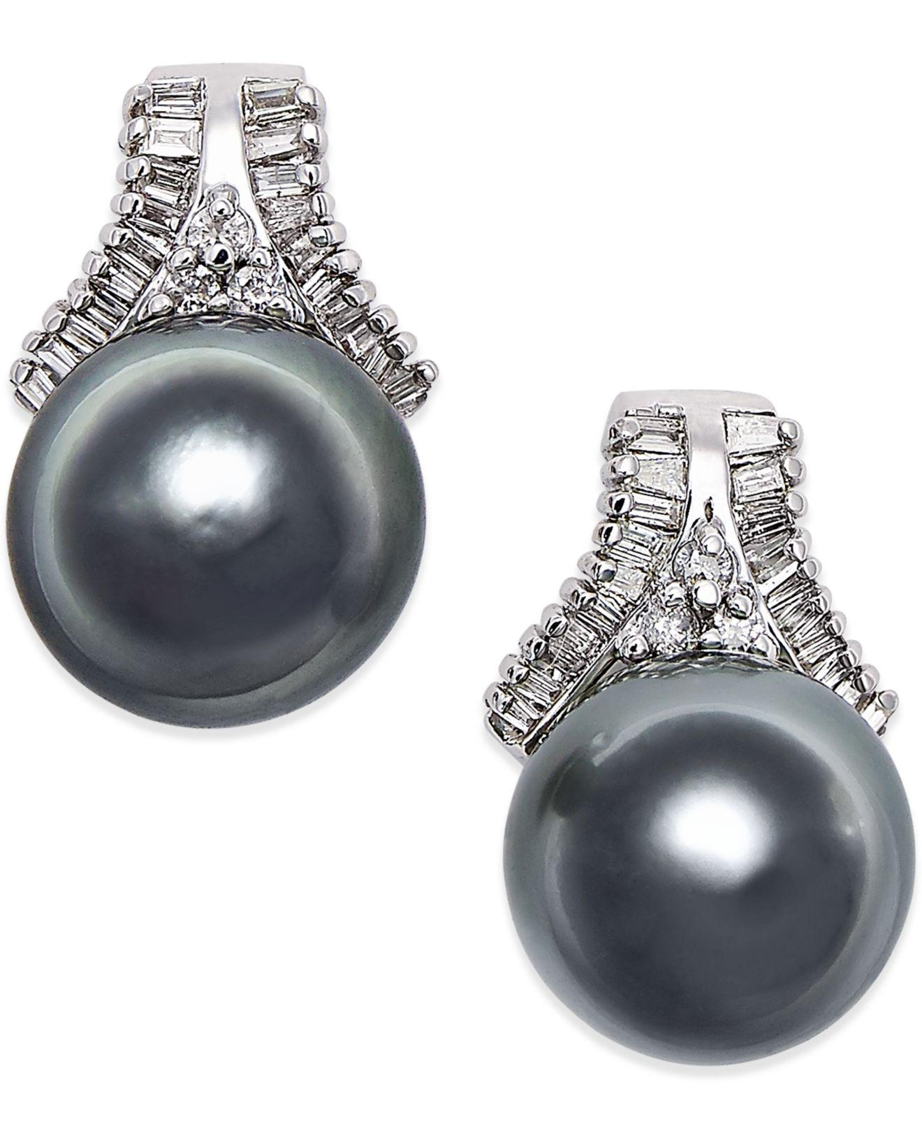 Cultured Tahitian Black Pearl 10mm And Diamond 5 8 Ct T W Stud Earrings In 14k White Gold