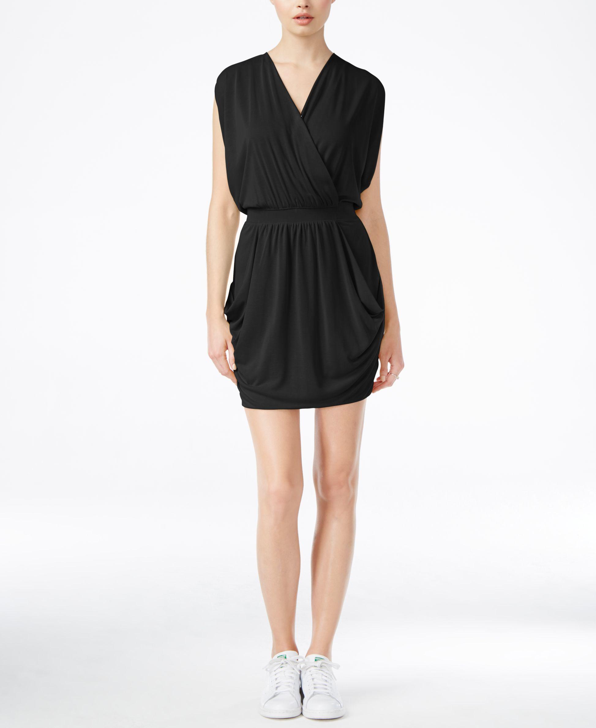 Rachel rachel roy Short-sleeve Faux-wrap Dress in Black