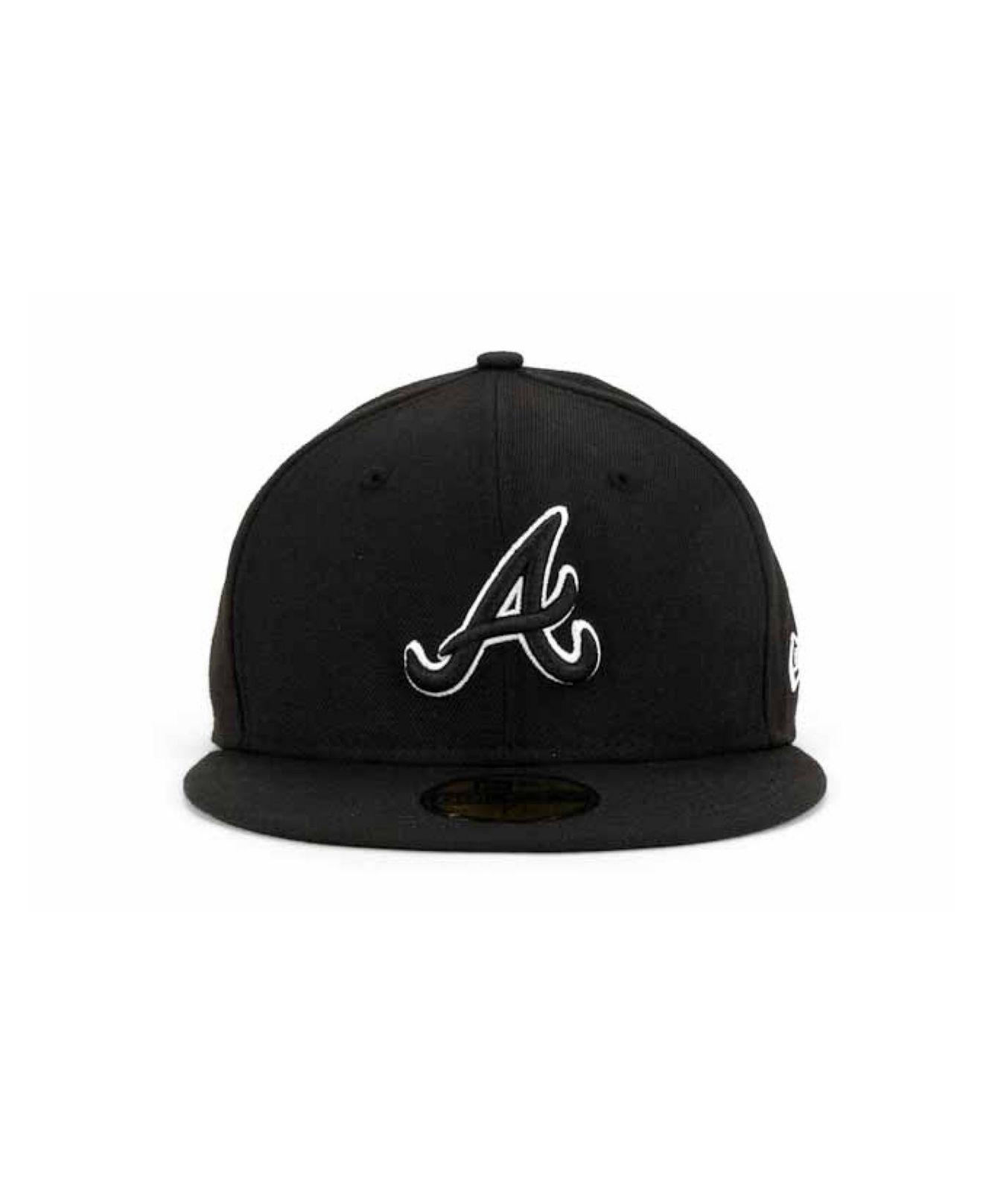 size 40 56e83 bc2fe ... czech lyst ktz atlanta braves black and white fashion 59fifty cap in  black for men 37963