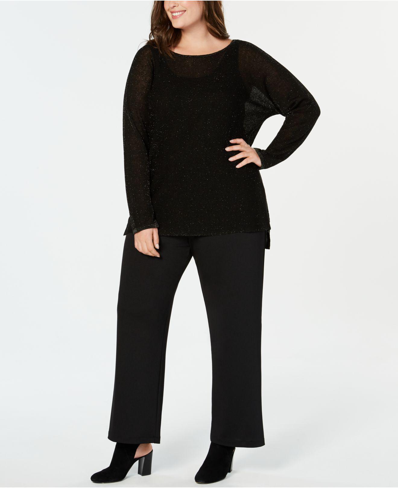 f0dc5f1add1 Lyst - Eileen Fisher Plus Size Organic Linen Metallic Sweater in Black
