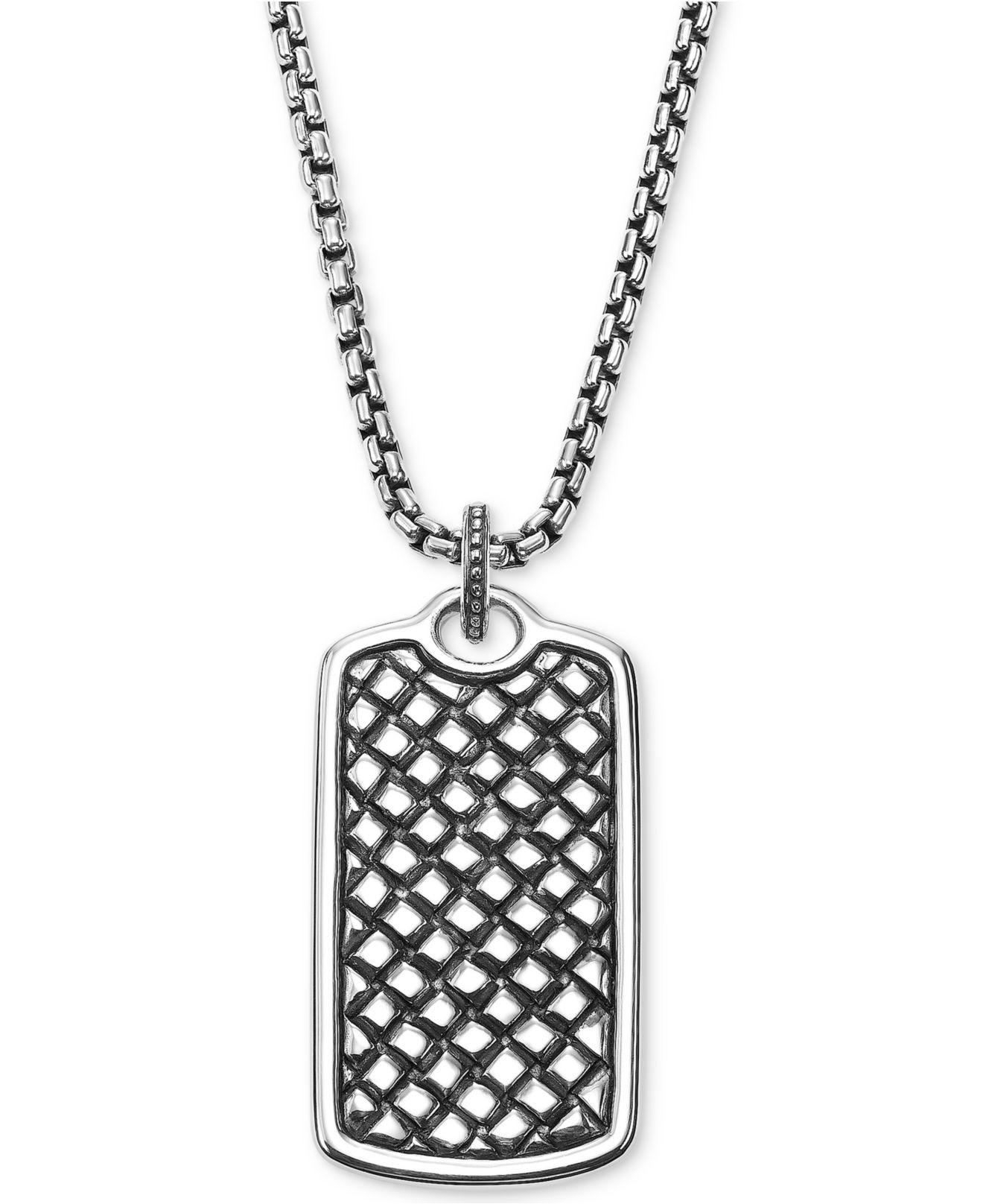 889ba6f8776103 Scott Kay - Metallic Men's Textured Dog Tag Pendant Necklace In Sterling  Silver for Men -. View fullscreen