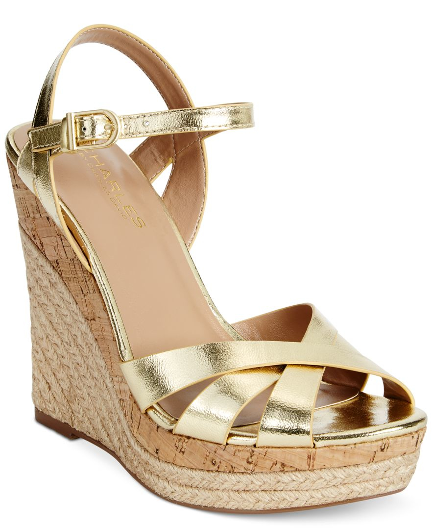 Charles By Charles David Astro Wedge Sandals In Metallic