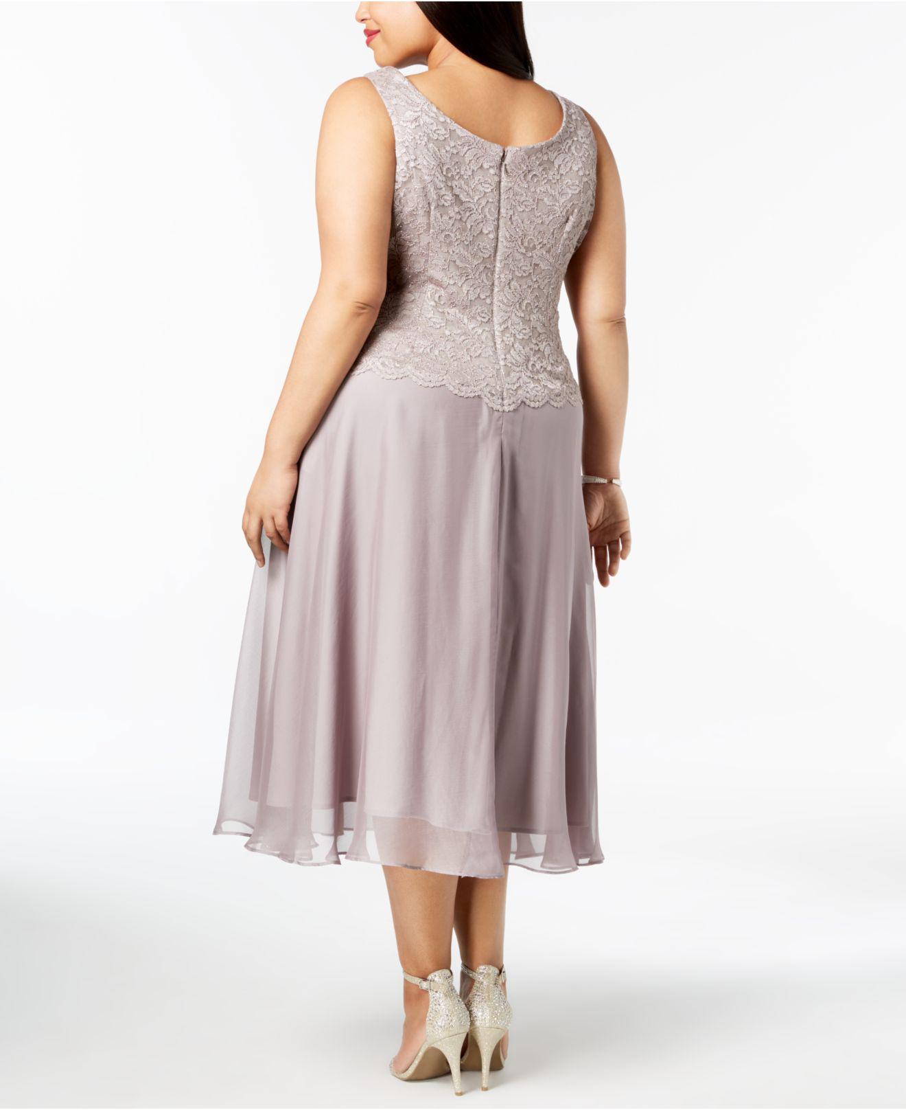 986ef27cf2057 Lyst - Alex Evenings Plus Size Glitter Lace Midi Dress   Jacket