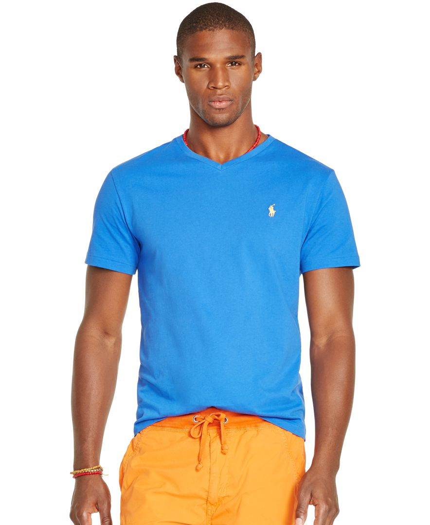 polo ralph jersey v neck in blue for lyst