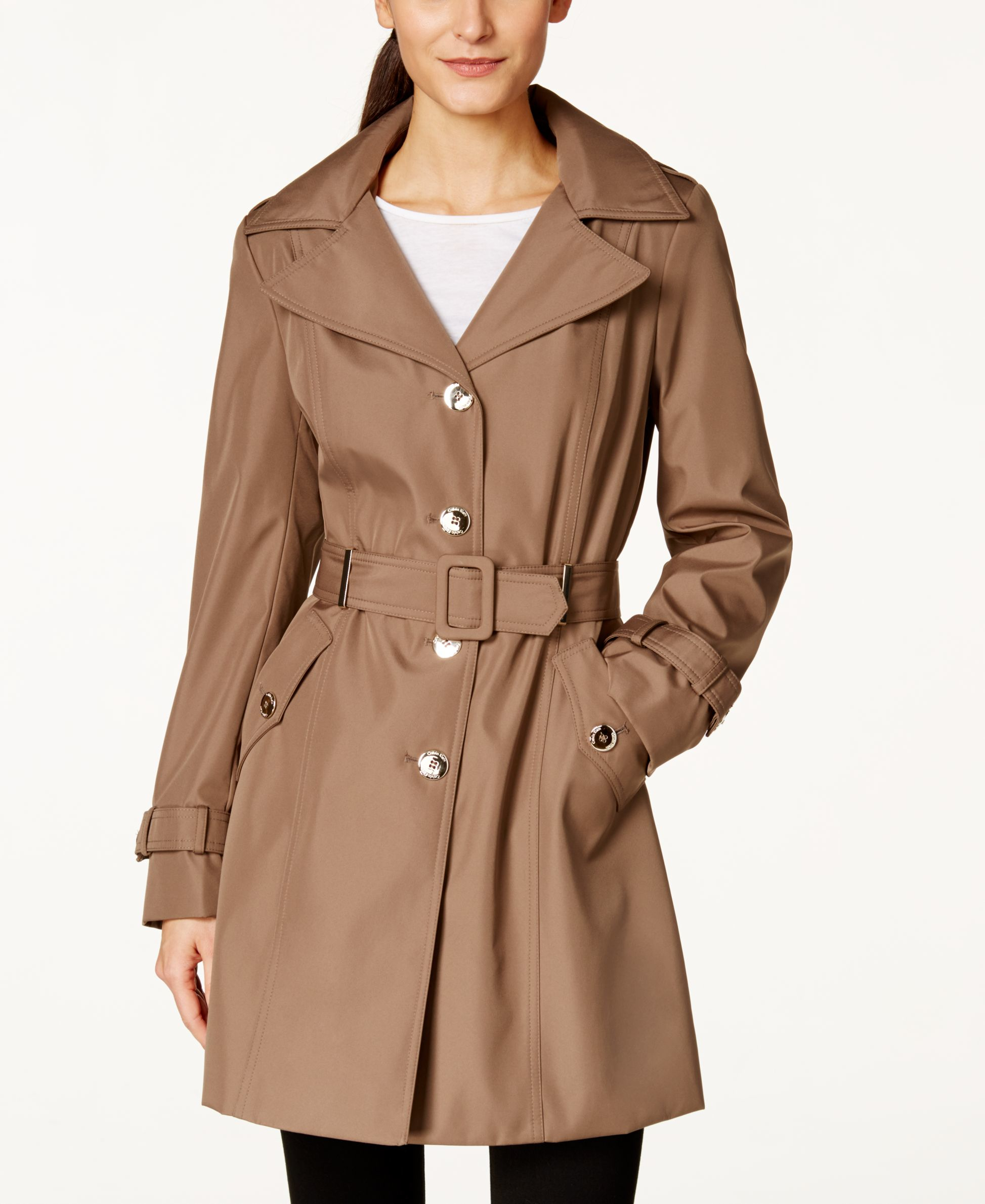 calvin klein petite hooded single breasted trench coat only at macy 39 s in brown lyst. Black Bedroom Furniture Sets. Home Design Ideas