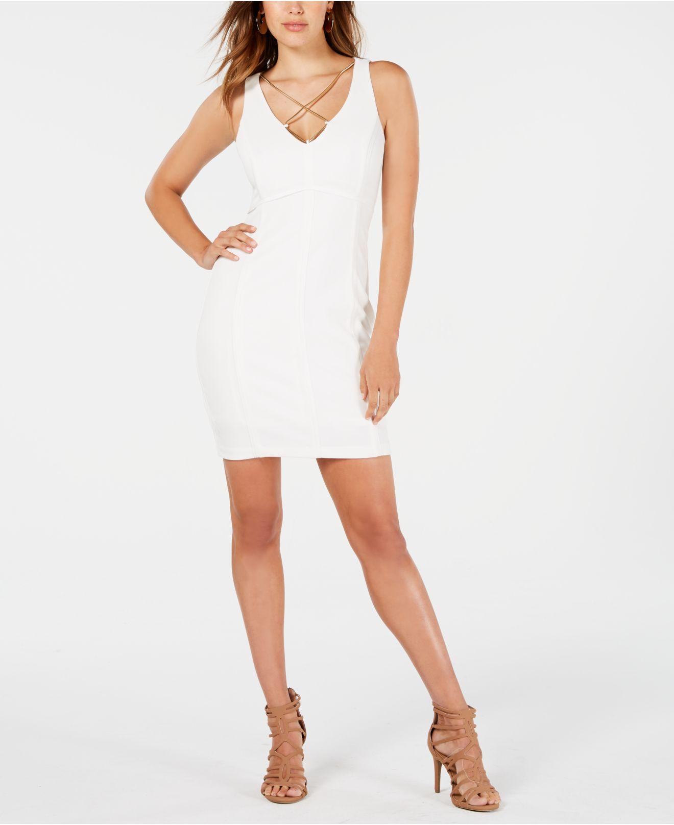 457b6192 Lyst - Guess Crisscross-chain Bodycon Dress in White