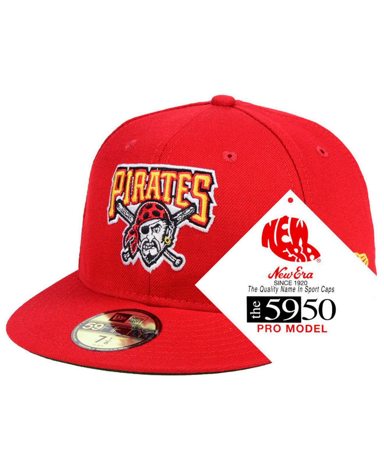premium selection bc585 0b5e2 KTZ Pittsburgh Pirates Retro Stock 59fifty Fitted Cap in Red for Men ...