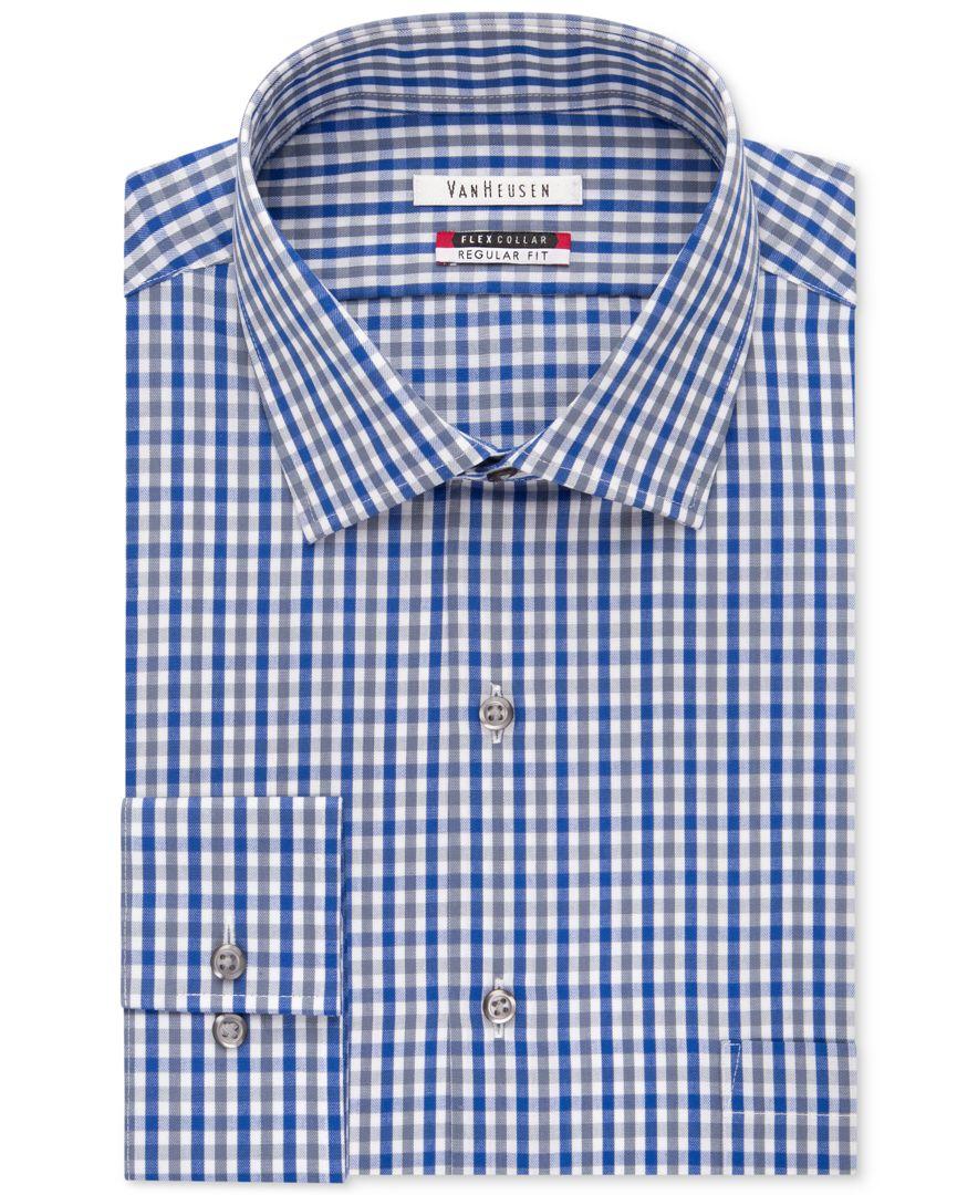 Van heusen flex collar gingham dress shirt for men lyst for Van heusen shirts flex collar
