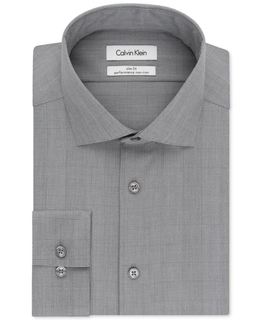 Calvin klein steel slim fit non iron performance smokey for No iron slim fit dress shirts