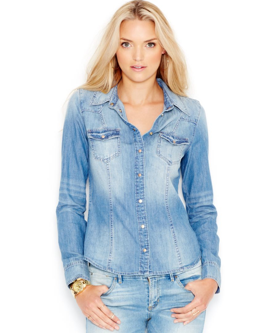 guess slim fit denim shirt in blue lyst
