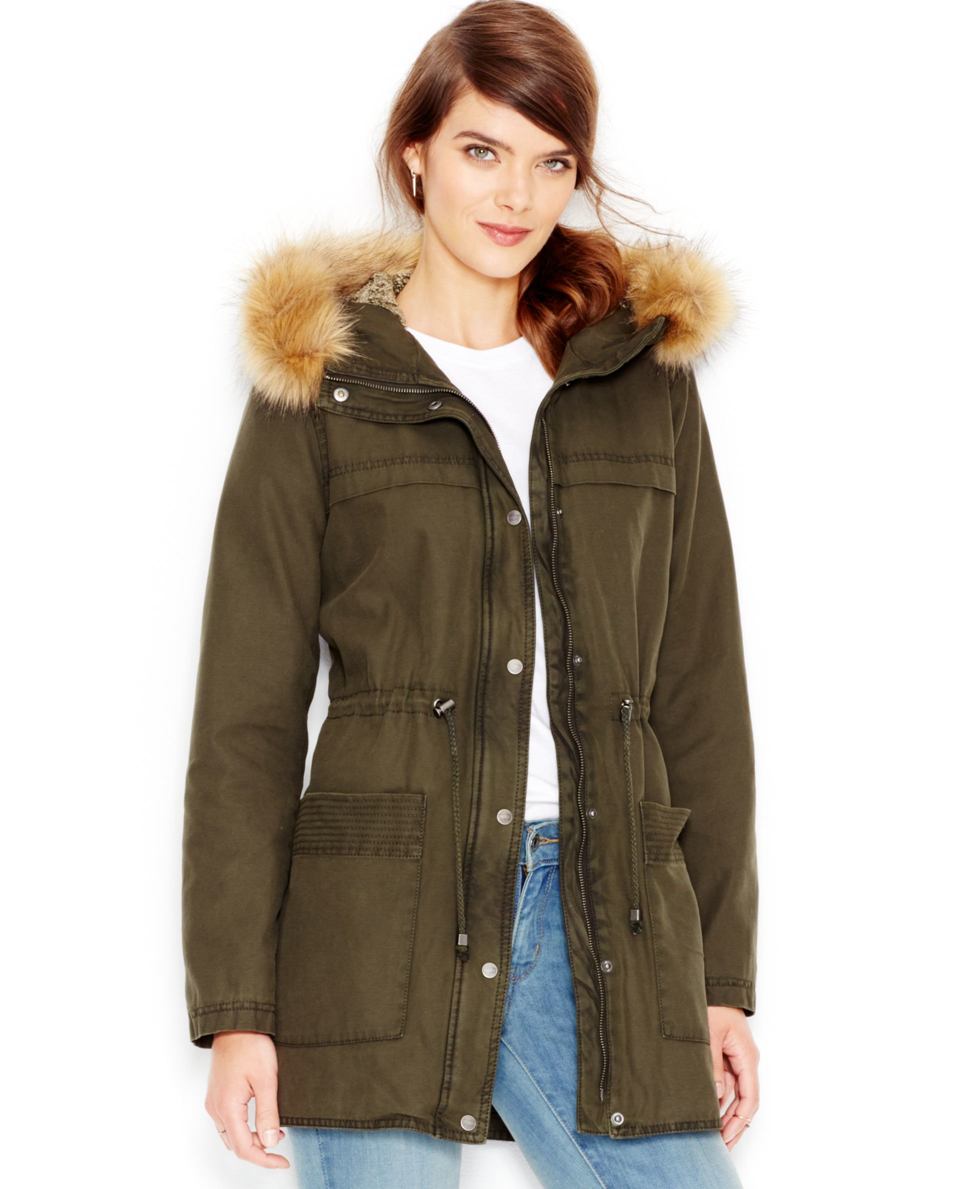 Levi's Faux-fur-trim Hooded Parka Jacket in Green | Lyst