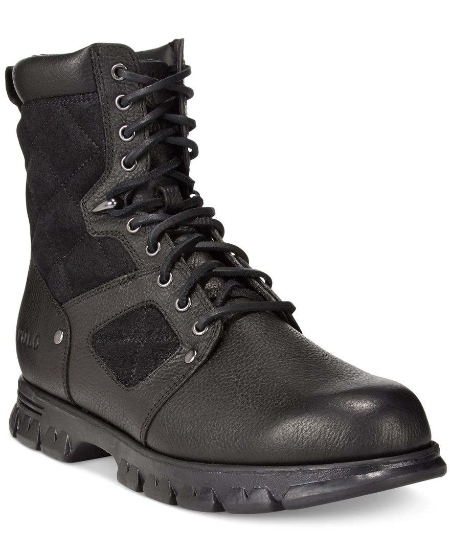 polo ralph dennison lace up boots in black for