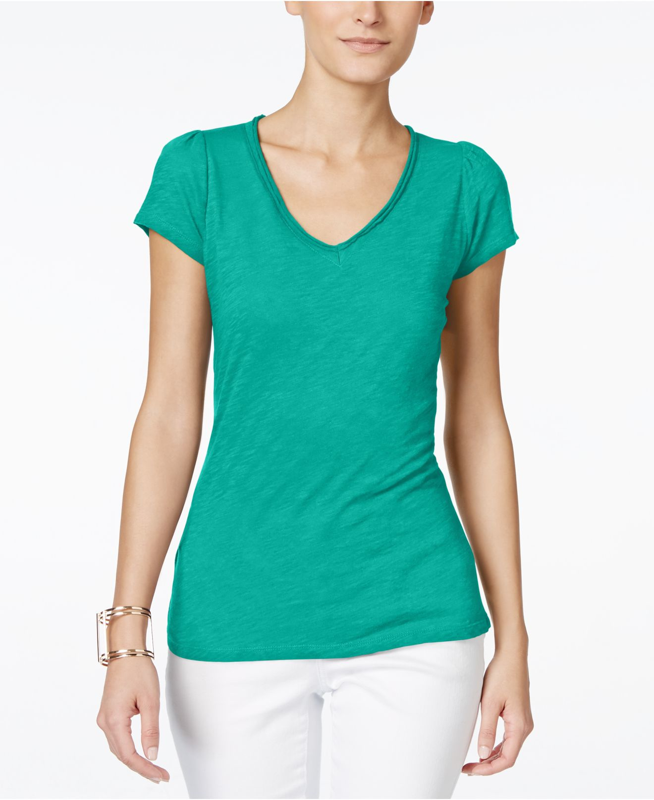 Inc international concepts petite v neck tee in green for Petite white tee shirt