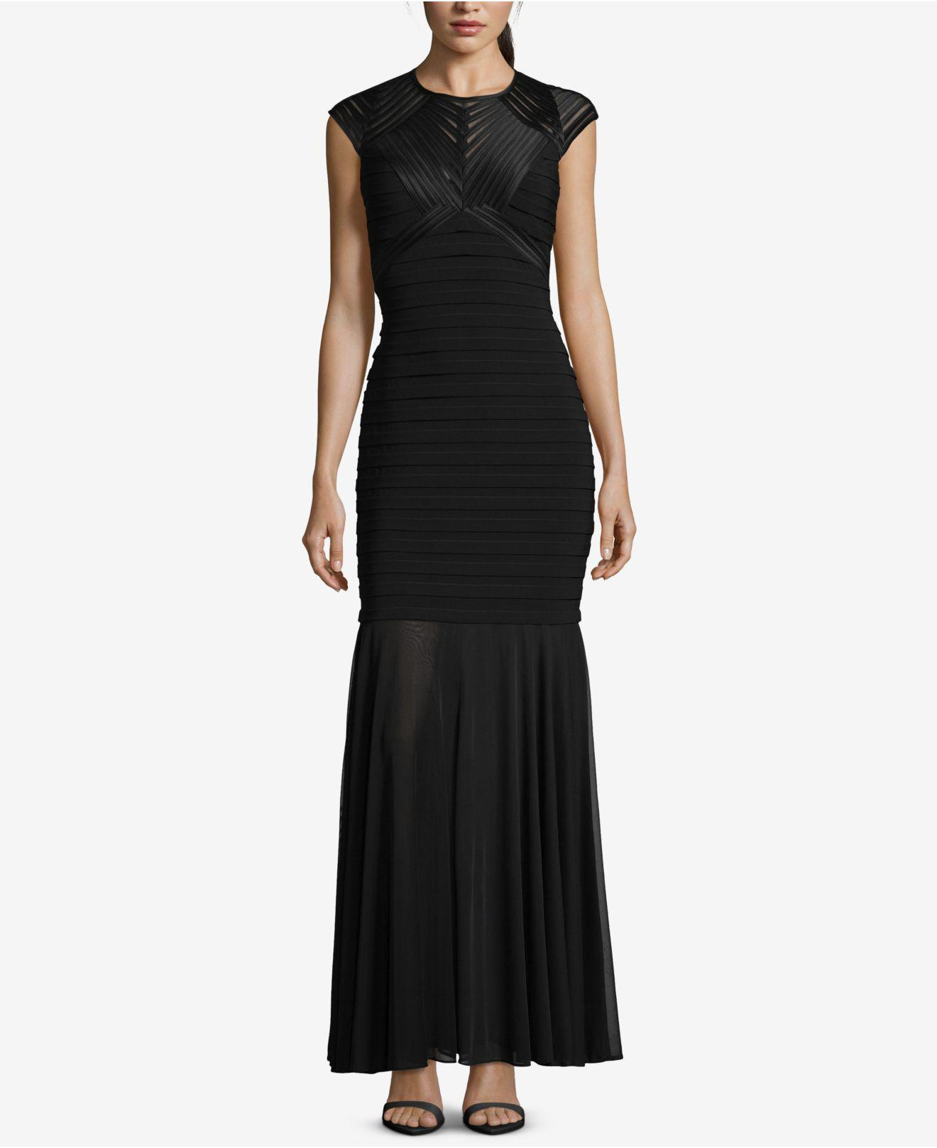 Lyst - Betsy & Adam Petite Illusion Bandage Gown in Black