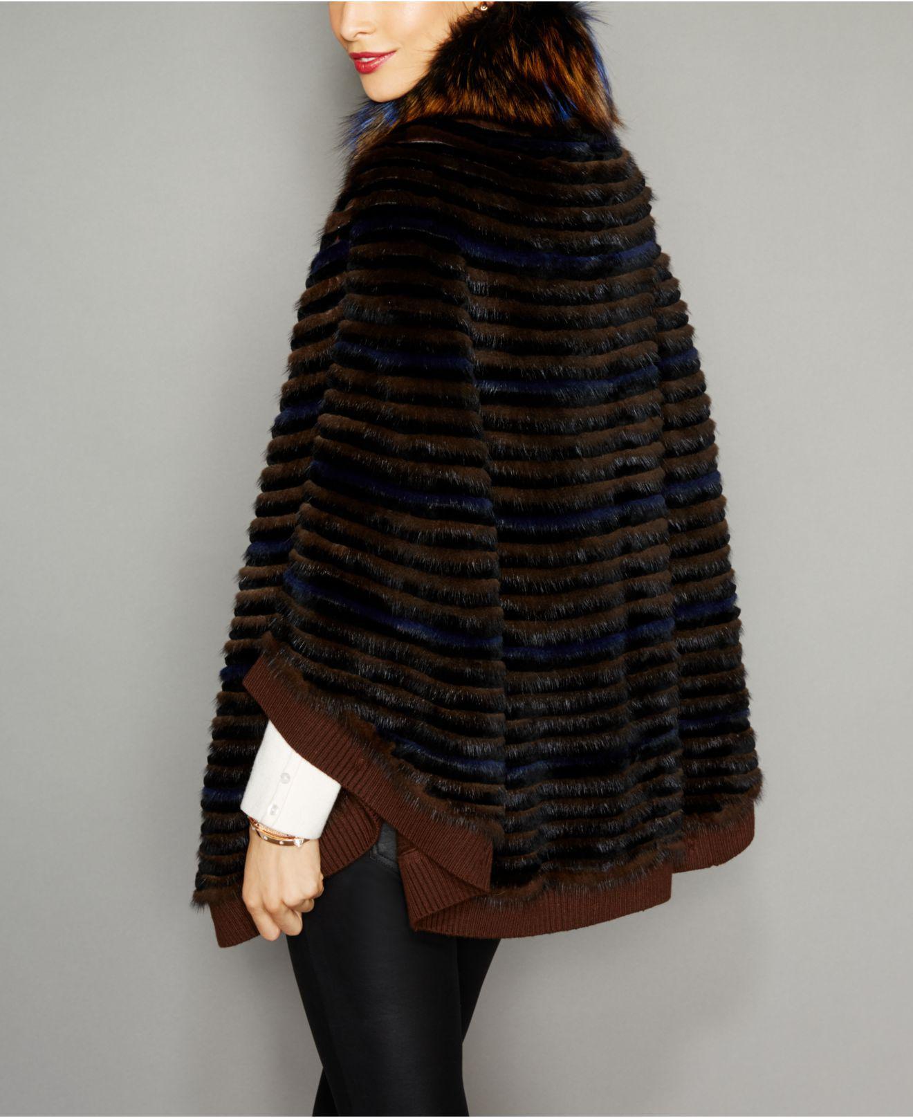 579cb383f01 Lyst - The Fur Vault Fox-fur-trim Knitted Mink Fur Cape in Black
