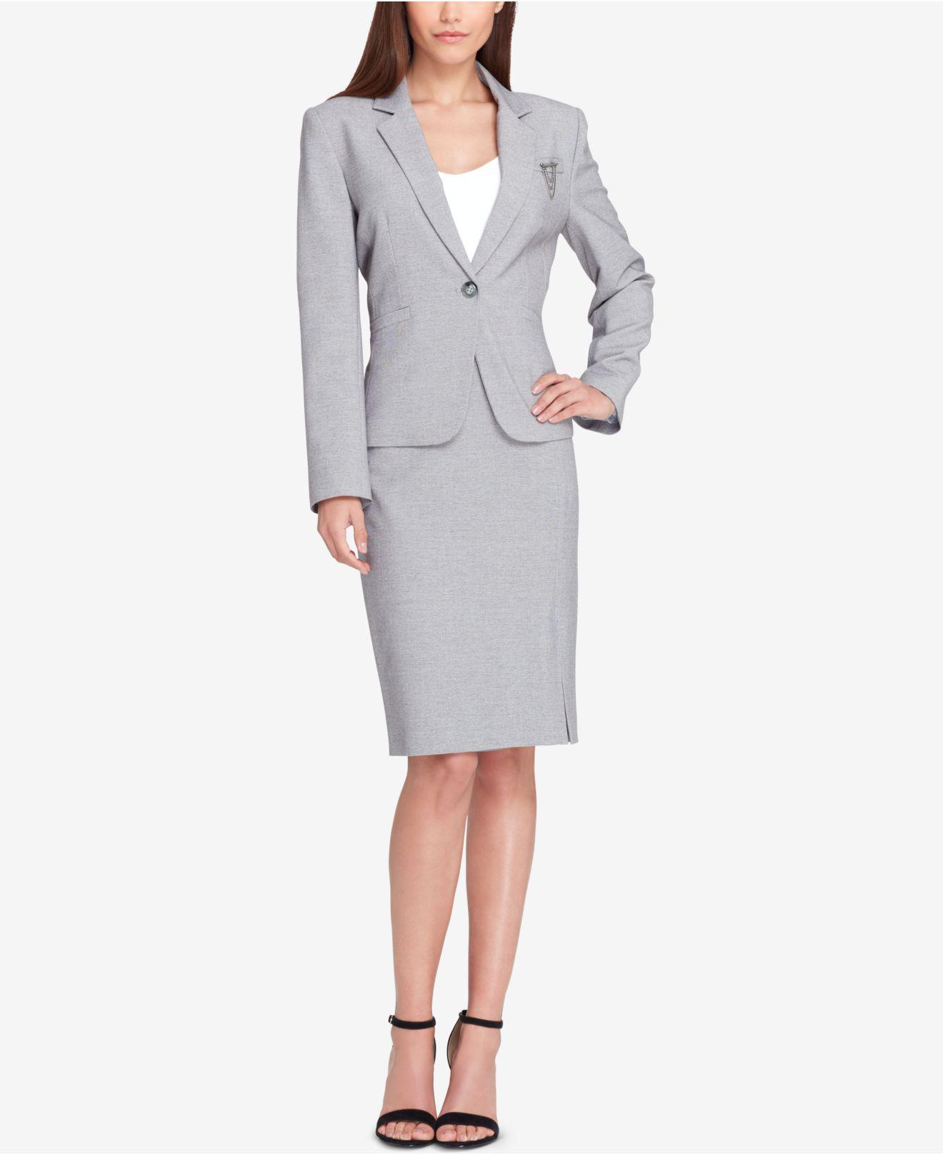 32654e2ab21d4 Lyst - Tahari Embellished One-button Skirt Suit in Gray