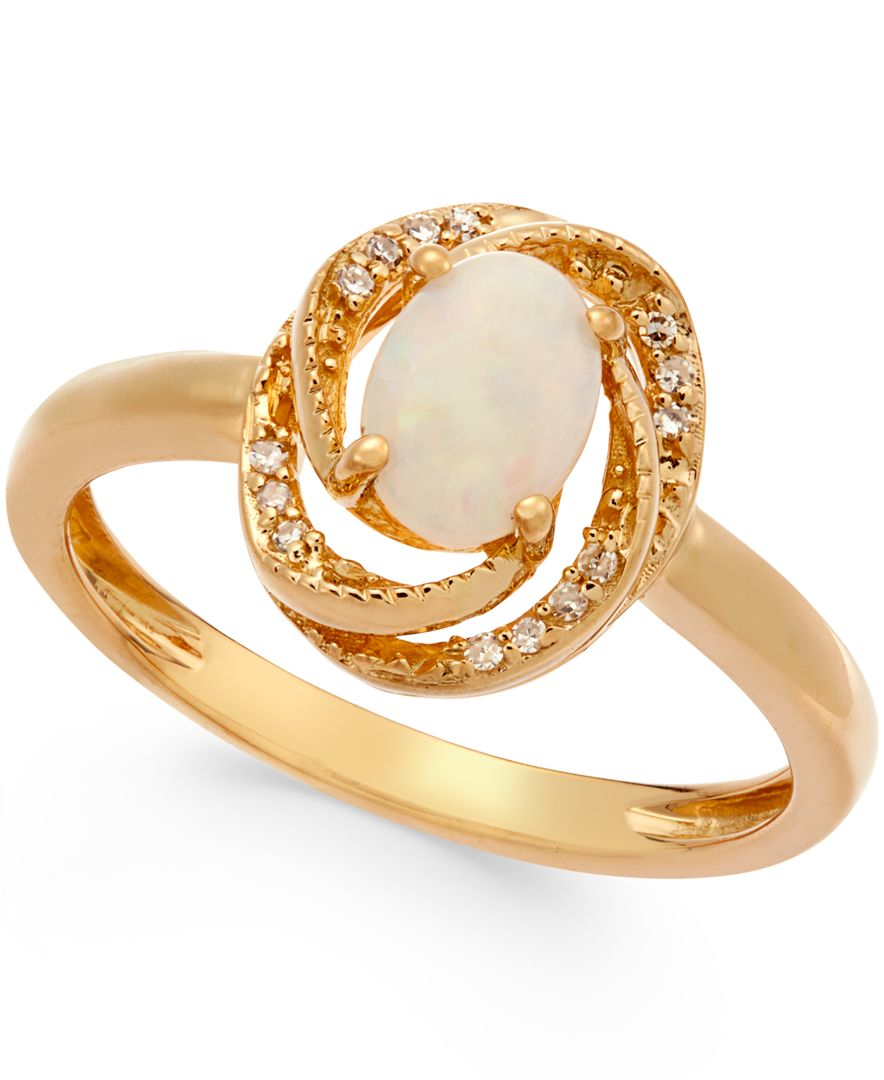 macy s opal 3 8 ct t w and accent ring in 14k