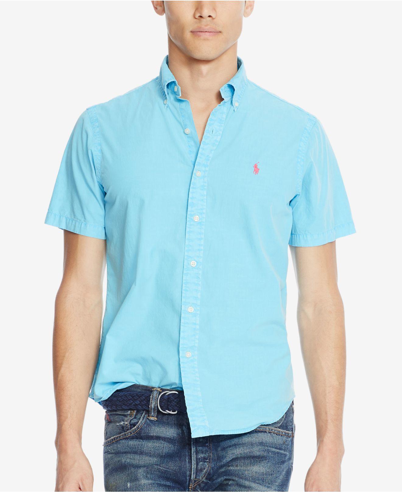 Polo ralph lauren men 39 s short sleeve silk shirt in blue for Silk short sleeve shirt