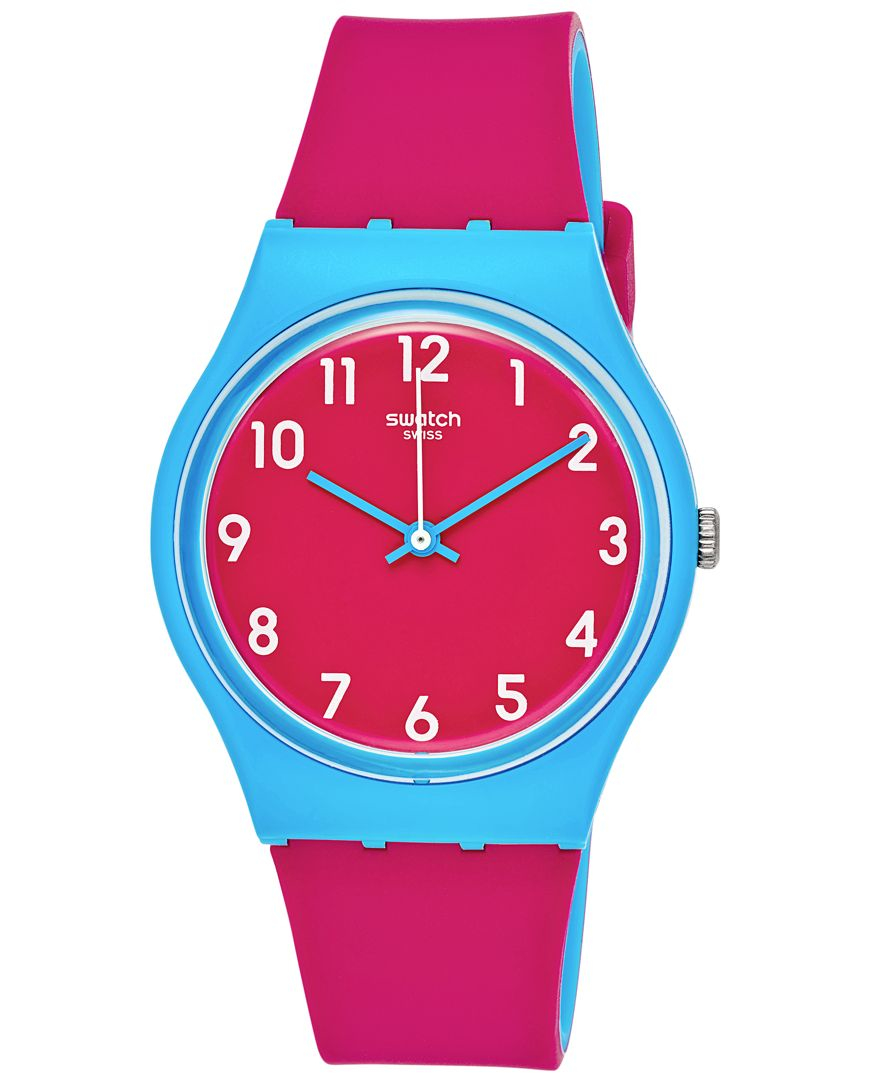 Swatch Women S Swiss Sport Mixer Pink And Blue Double Layer