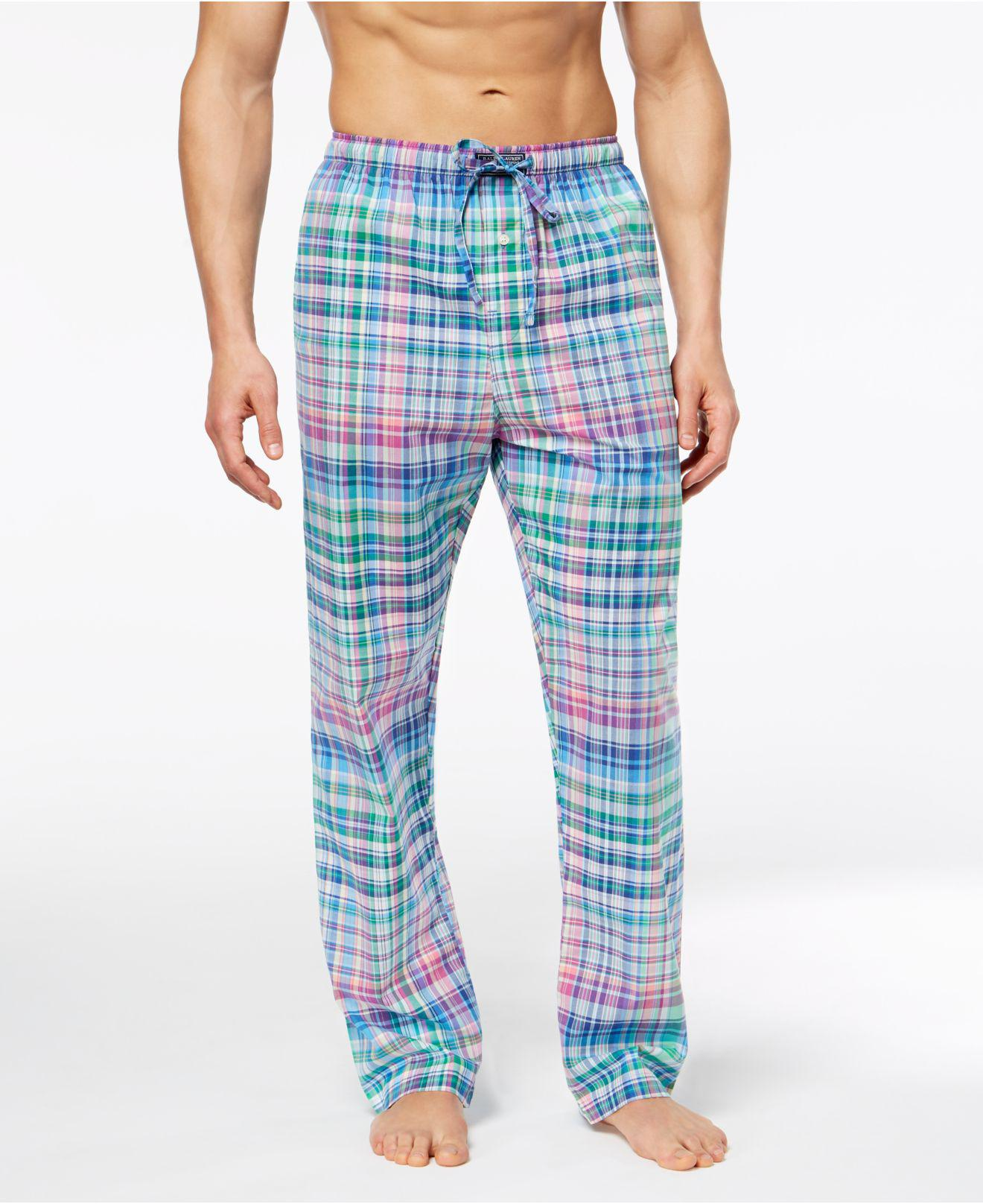 b5718f5ca25d Lyst - Polo Ralph Lauren Woven Plaid Pajama Pants in Blue for Men