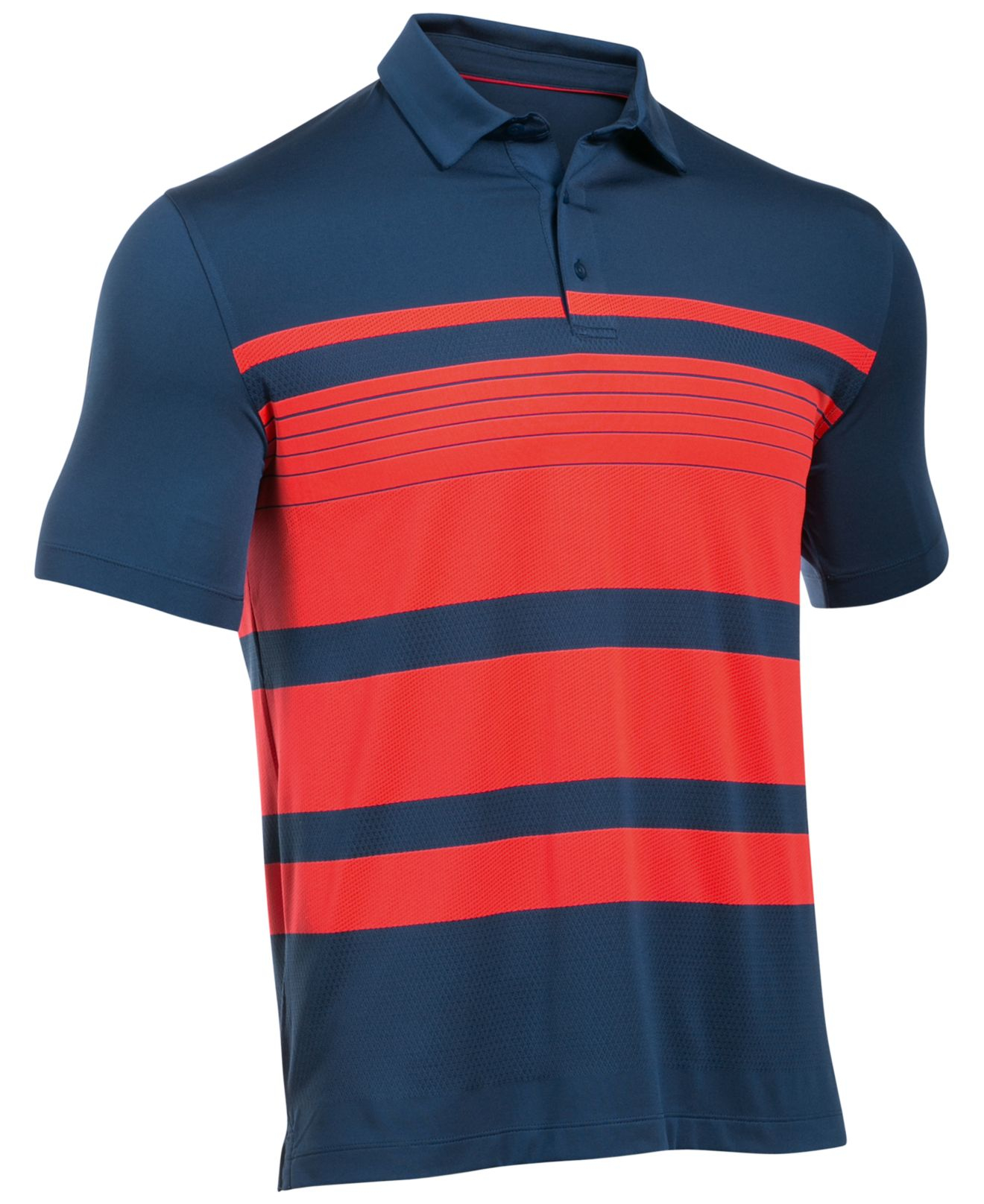 Under armour men 39 s coldblack striped golf polo in blue for for Under armour 3xl polo shirts