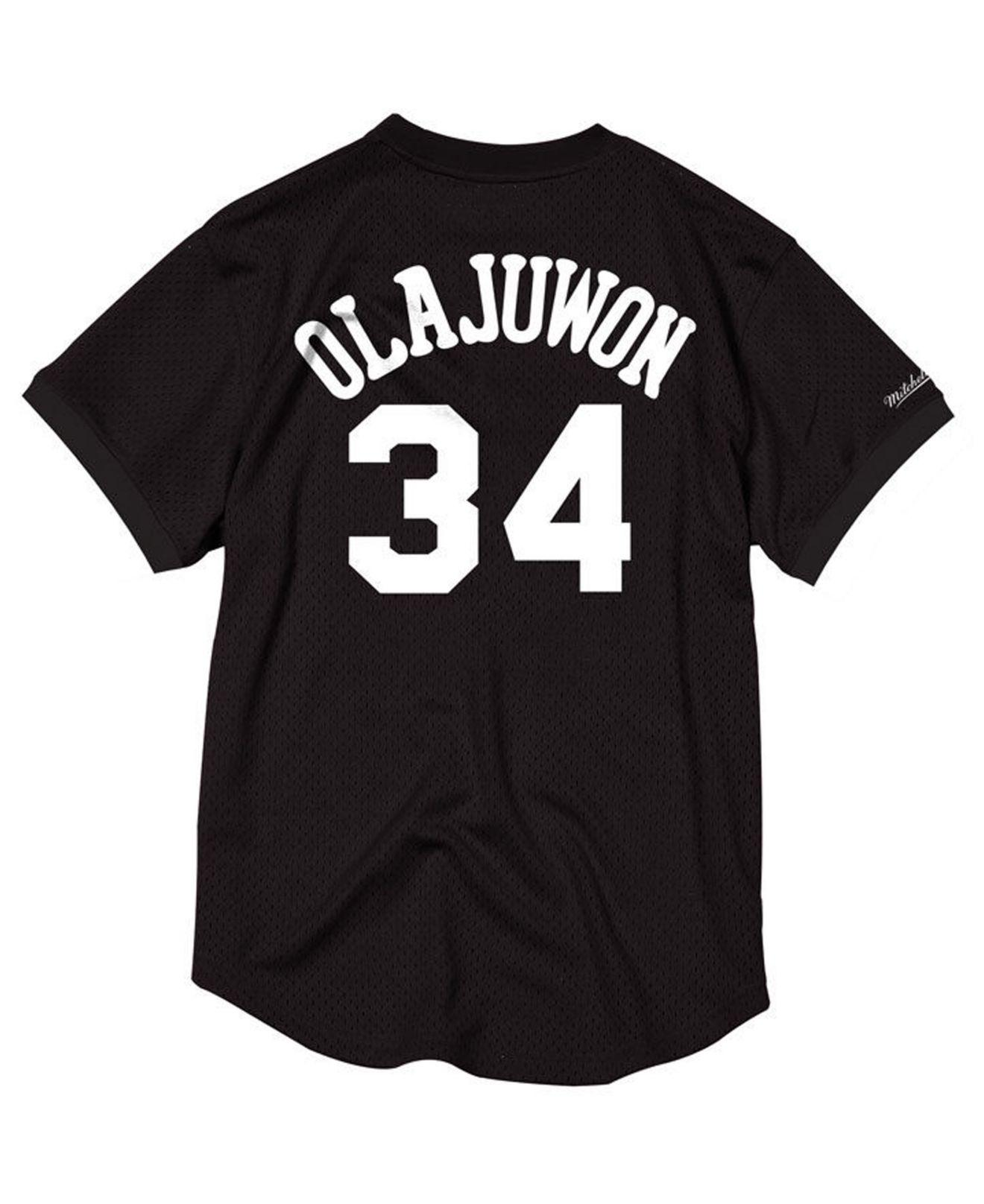 low priced e843d d3a81 Mitchell & Ness Hakeem Olajuwon Houston Rockets Black & White Mesh Name And  Number Crew Neck Jersey for men
