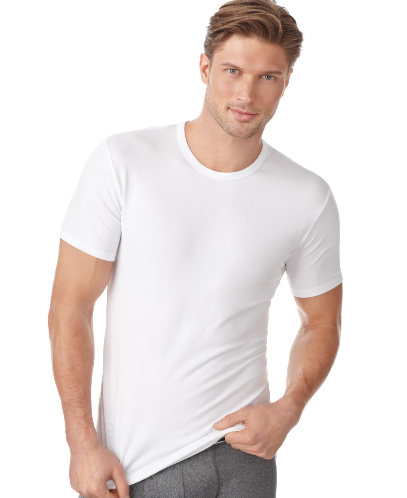 Calvin klein men 39 s cotton stretch crew neck undershirt 2 for Mens white cotton t shirts