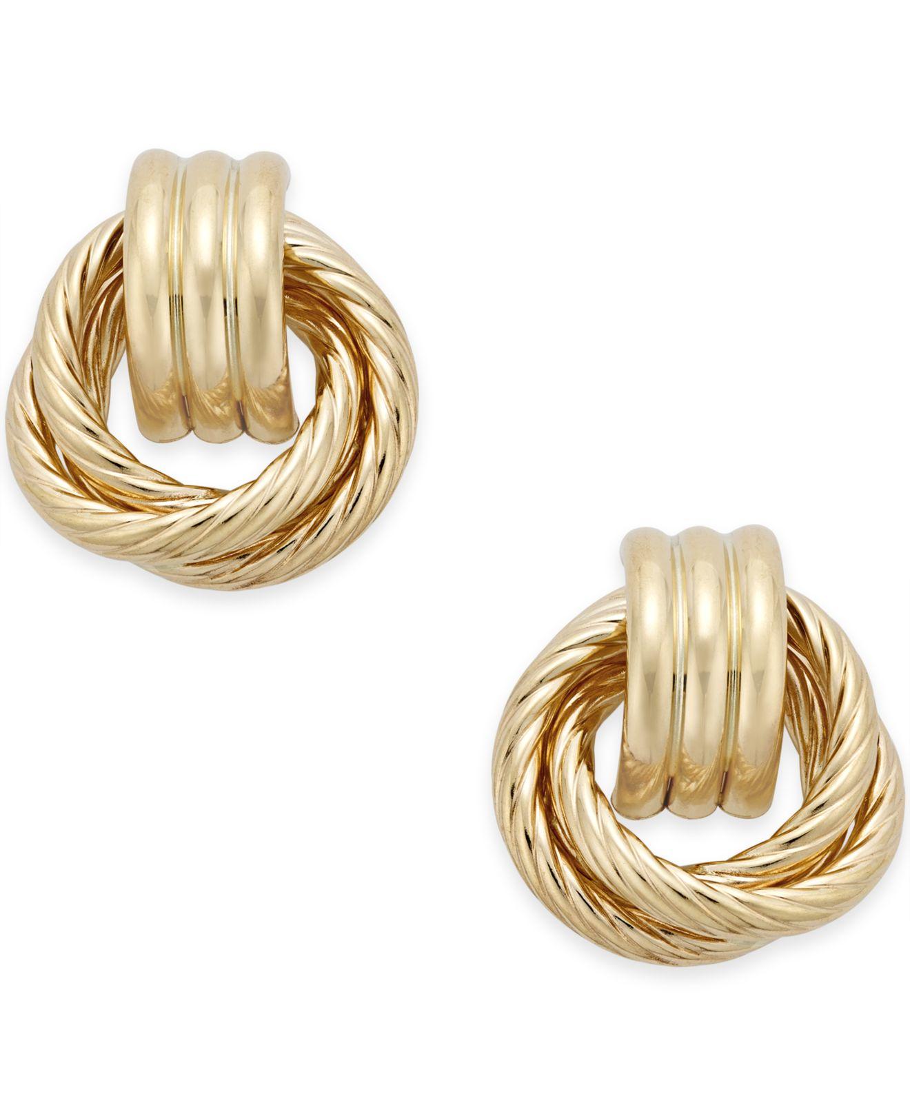 Macy S Textured Door Knocker Earrings In 14k Gold Metallic Lyst