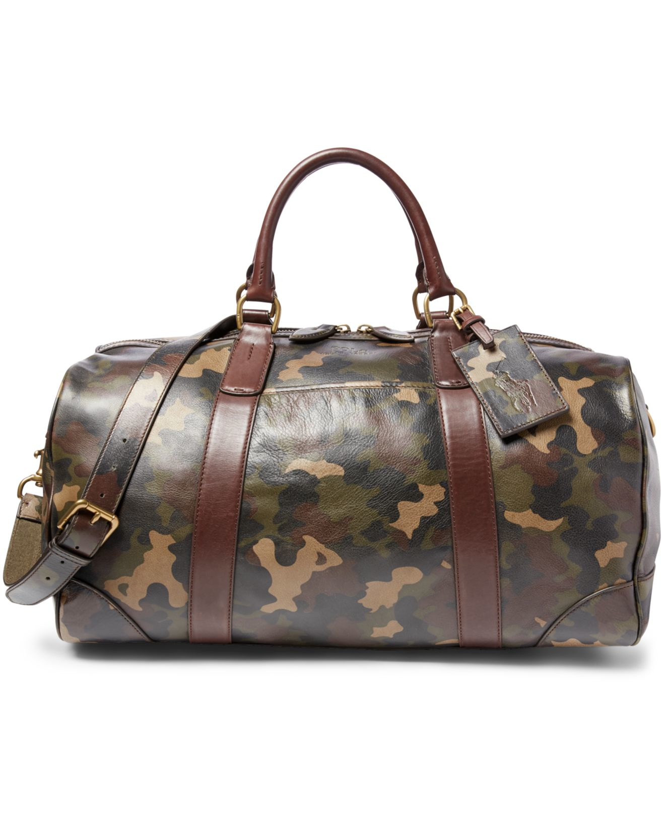 Polo Ralph Lauren Camouflage Print Leather Duffel Bag In