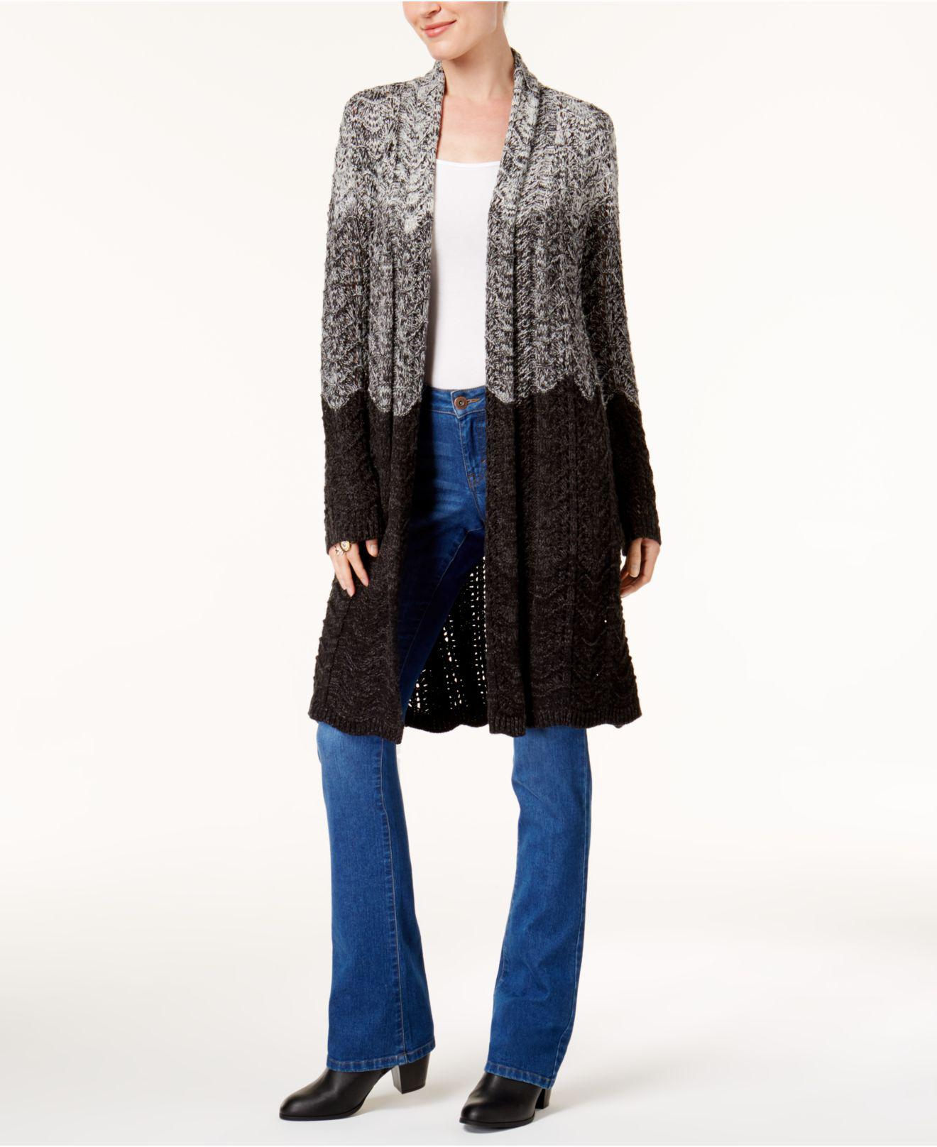 Style & co. Ombré Duster Cardigan in Gray - Save 18% | Lyst