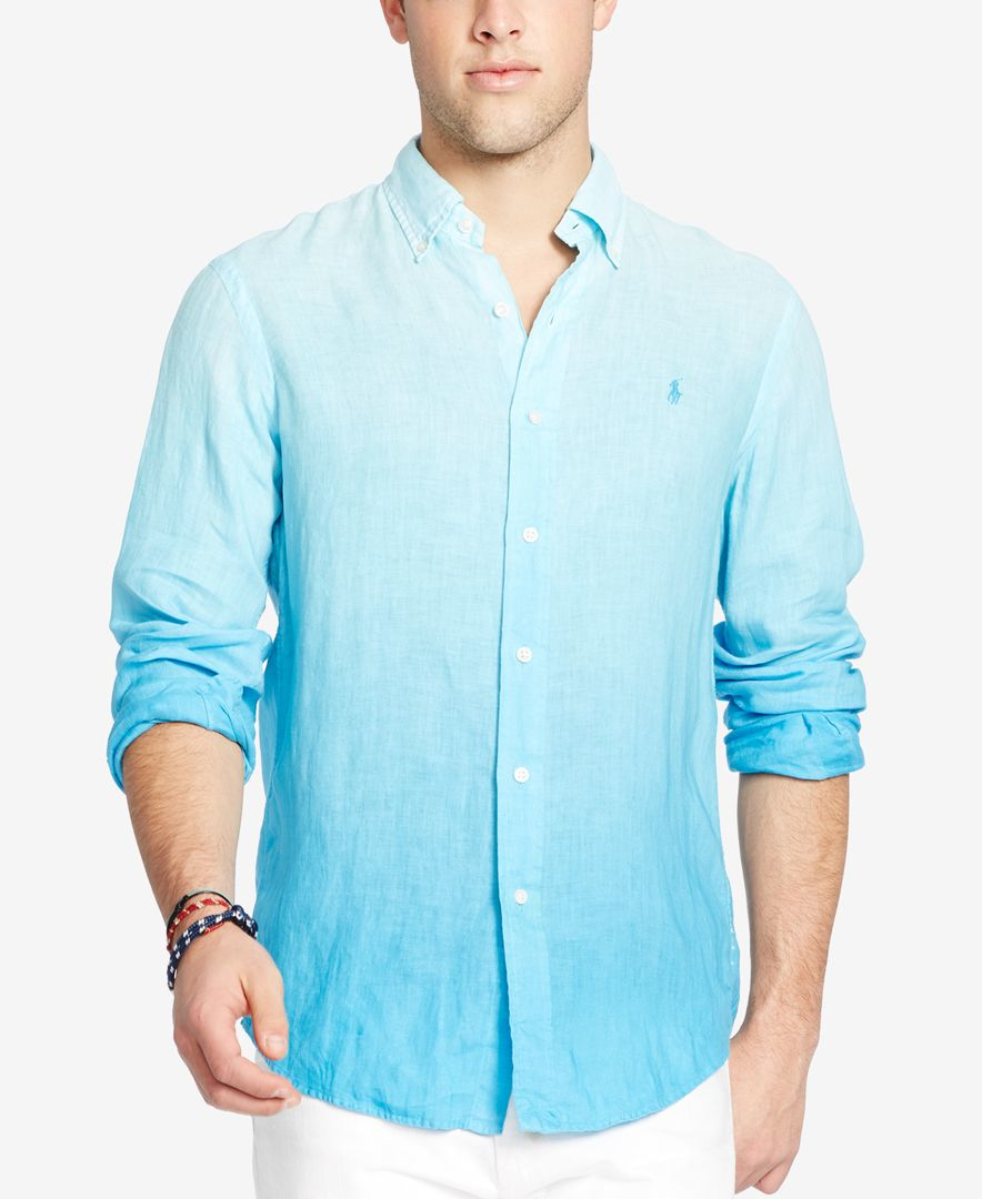 280542fc Polo Ralph Lauren Blue Men's Long-sleeve Ombre Linen Sport Shirt for men