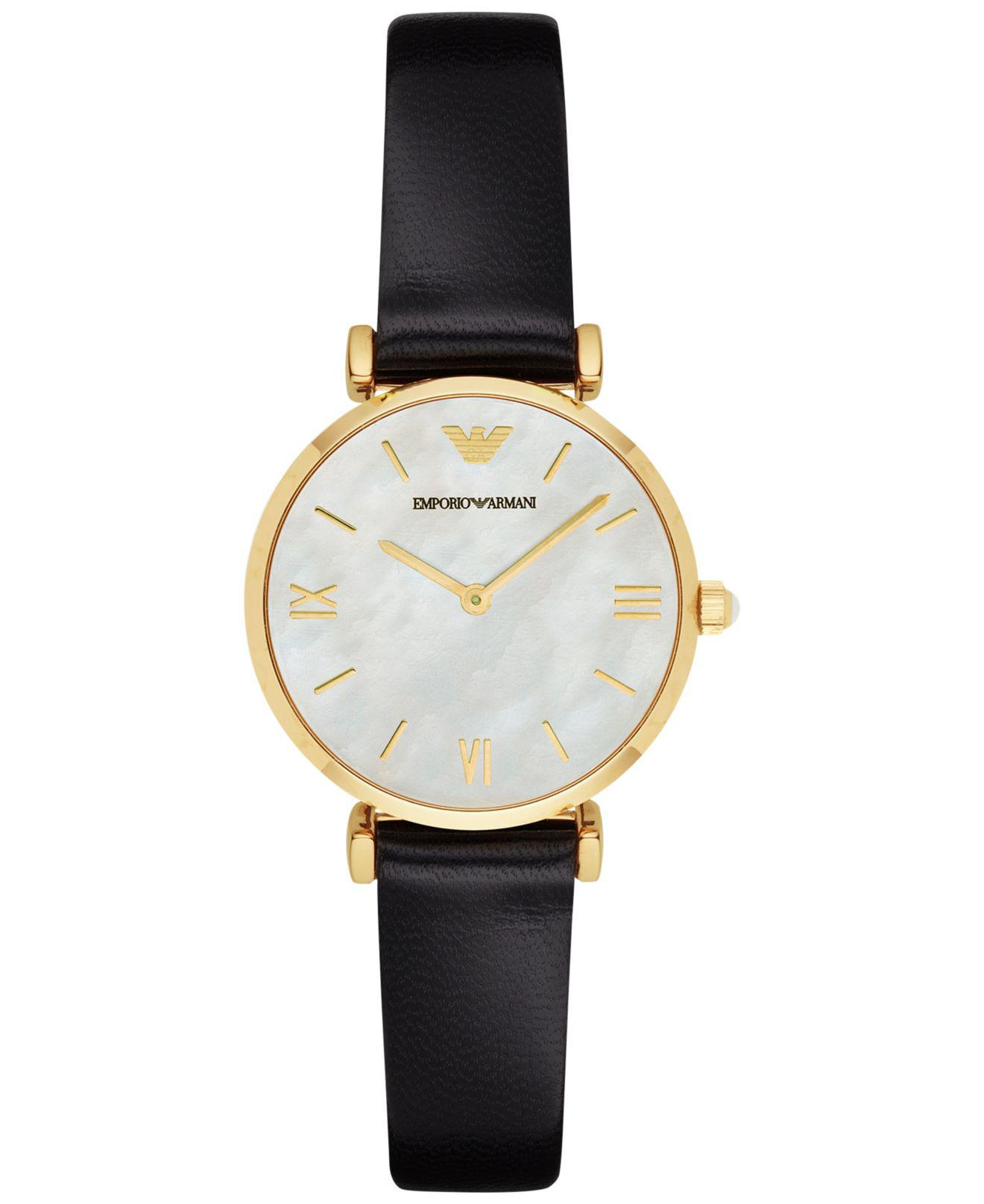 3c9ee70e98b804 Emporio Armani Women's Gianni T-bar Black Leather Strap Watch 32mm ...
