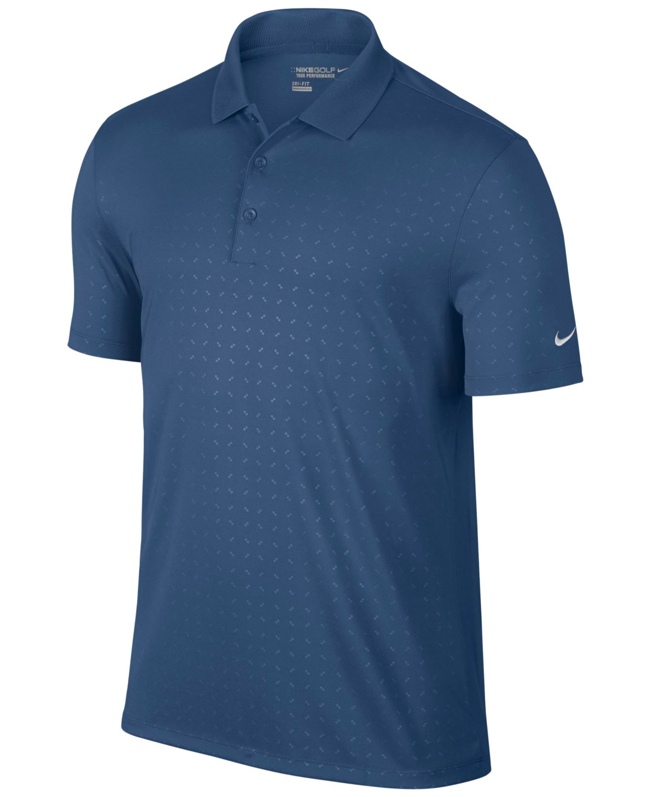 Nike men 39 s victory emboss dri fit polo shirt in blue for for Dri fit collar shirts