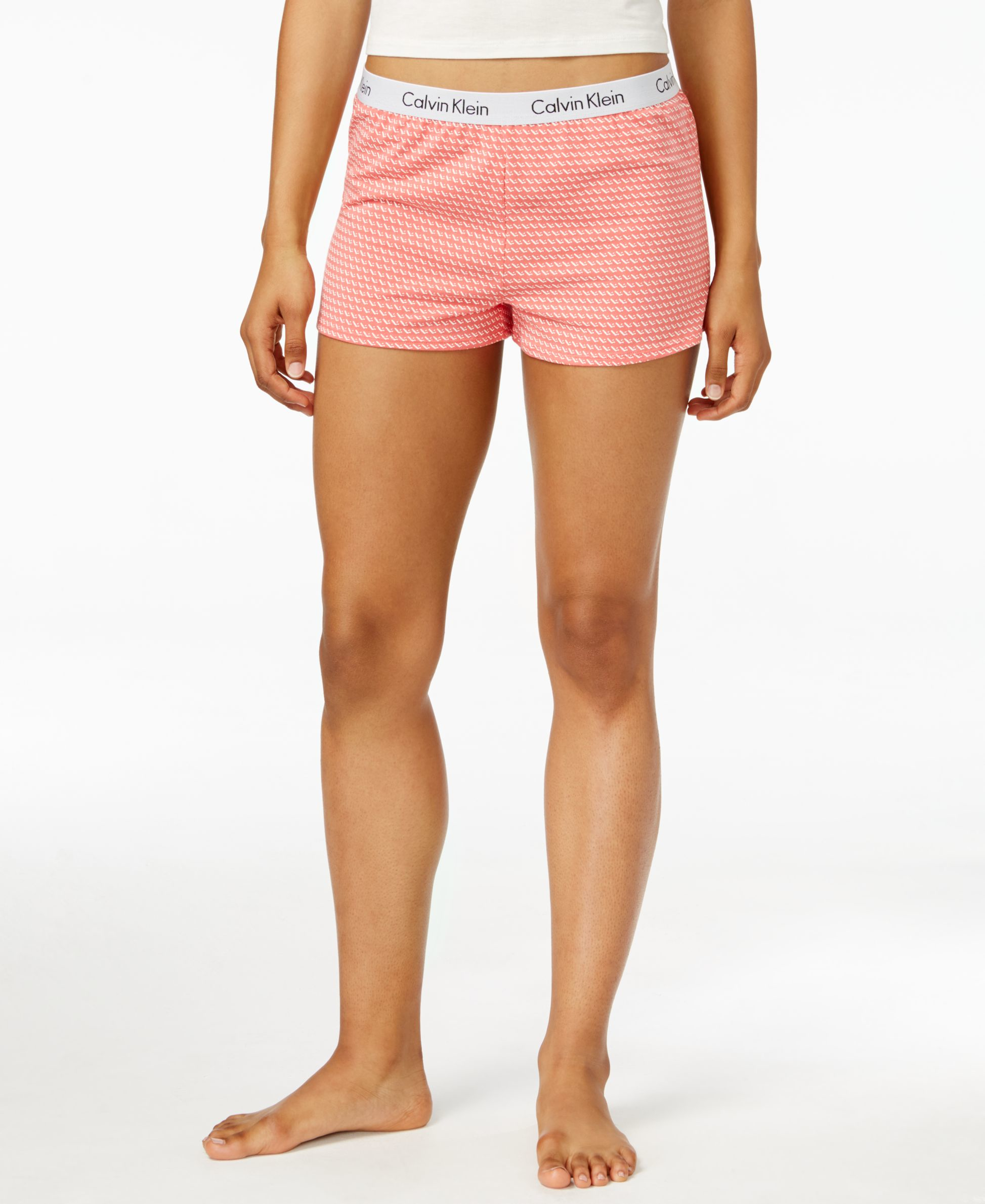 calvin klein logo boxer shorts in pink lyst. Black Bedroom Furniture Sets. Home Design Ideas