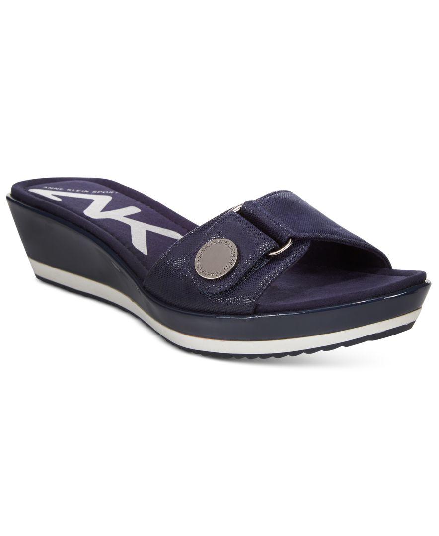 Anne Klein Sport Itemize Wedge Sandals In Black Lyst