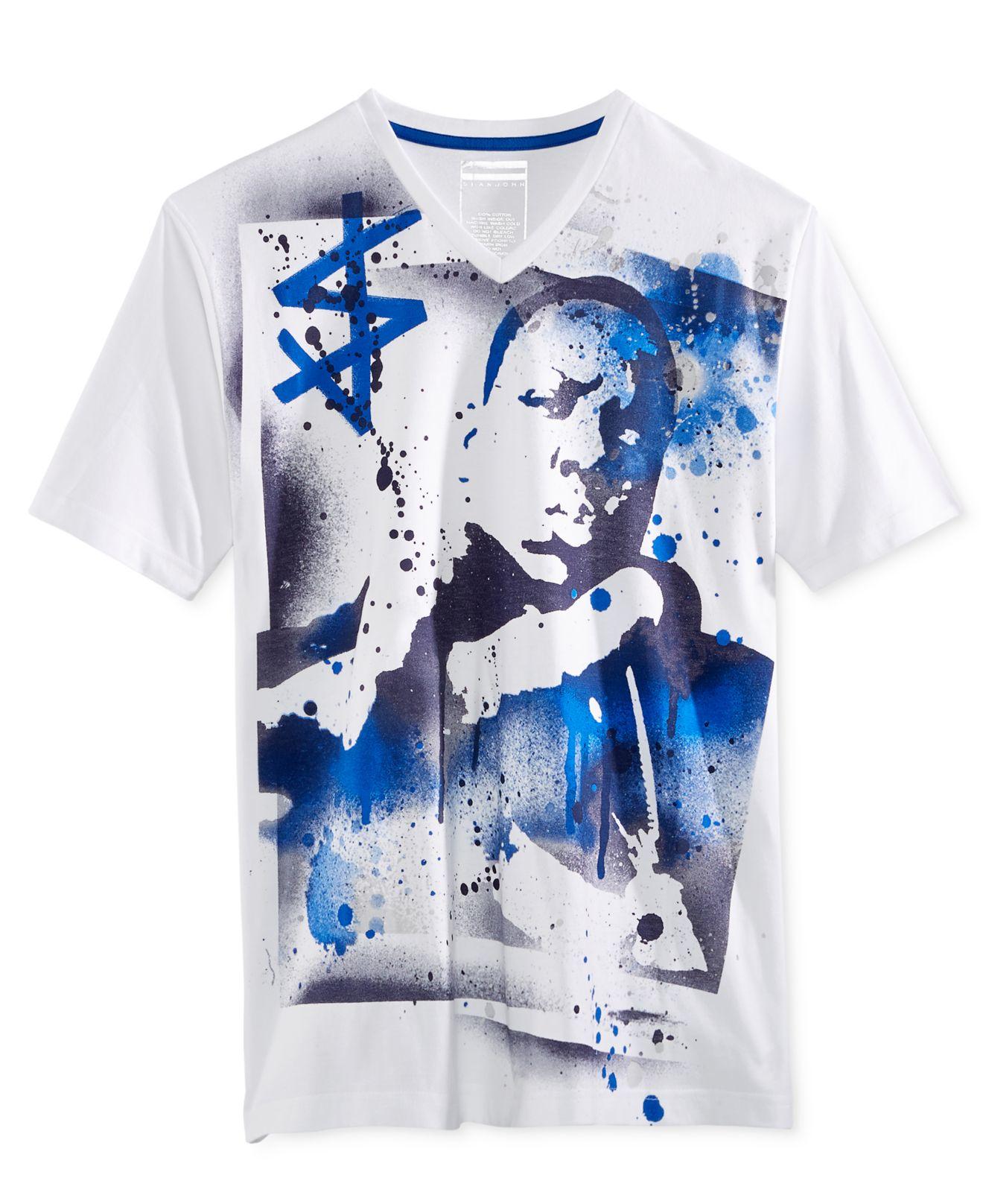 Sean john men 39 s street art graphic print v neck t shirt in for Sean john t shirts for mens