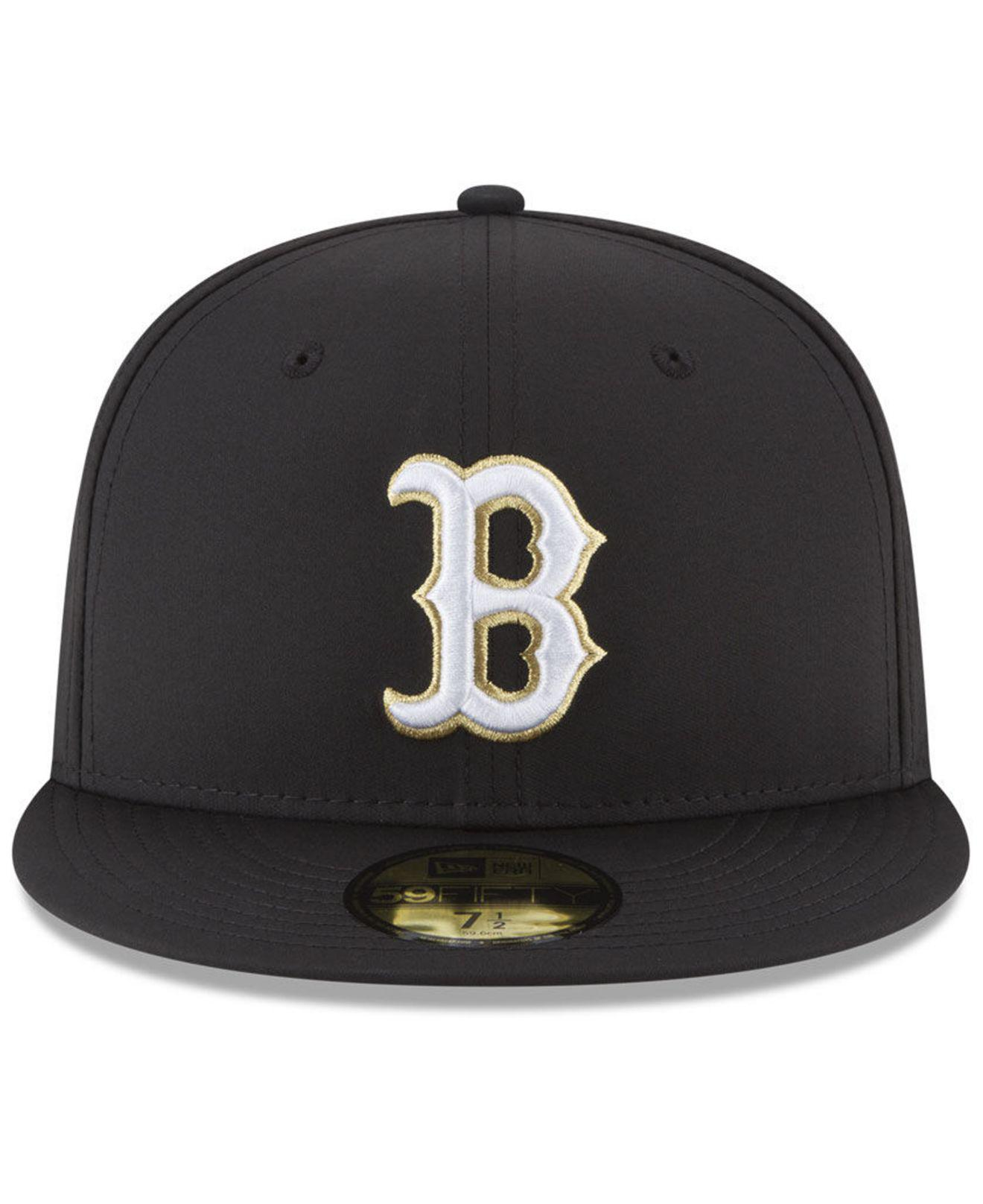 get cheap 4d587 8e50e ... cheapest lyst ktz boston red sox prolite gold out 59fifty fitted cap in  black for men