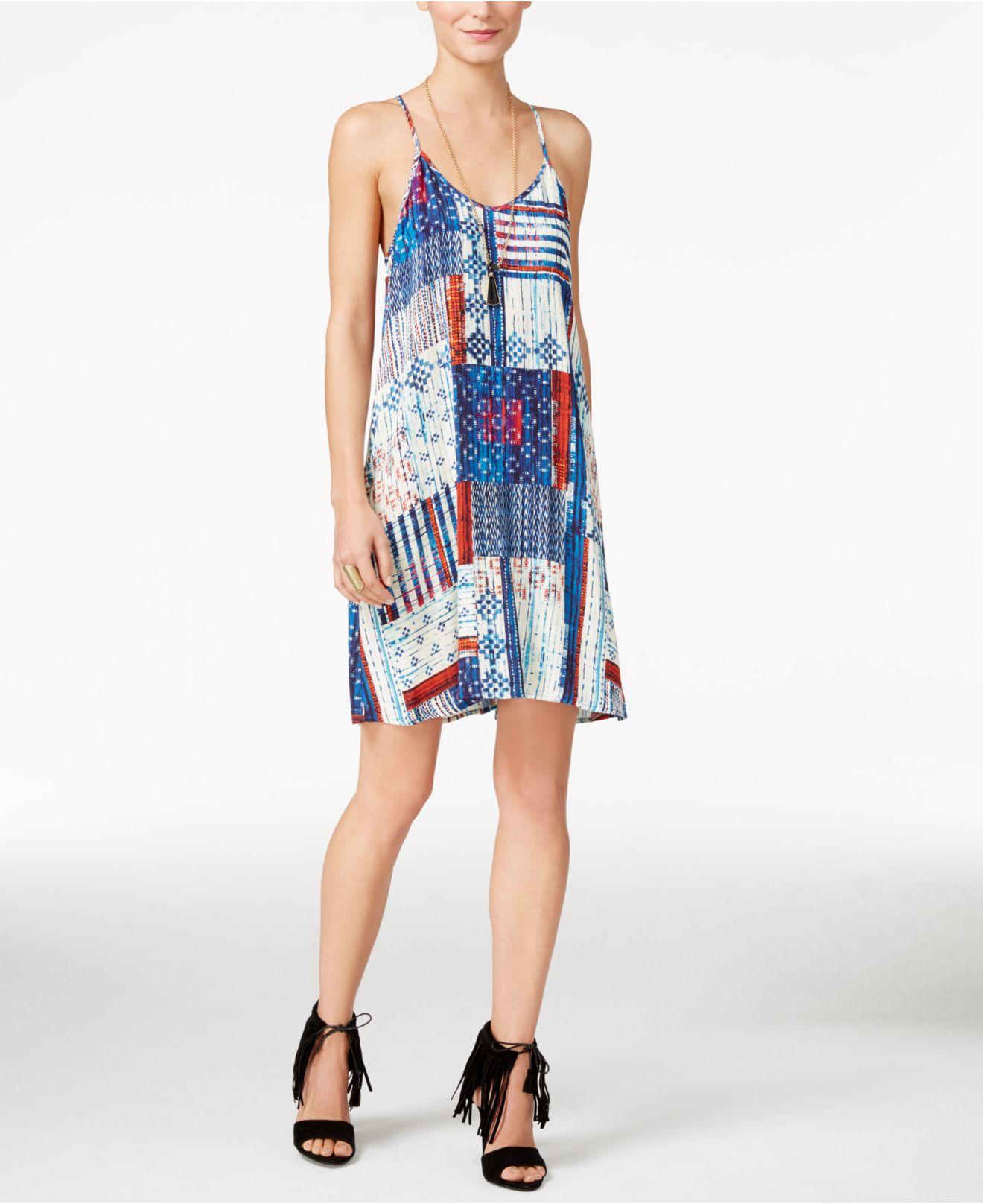 Karen Kane Printed T Back Slip Dress In Blue Lyst