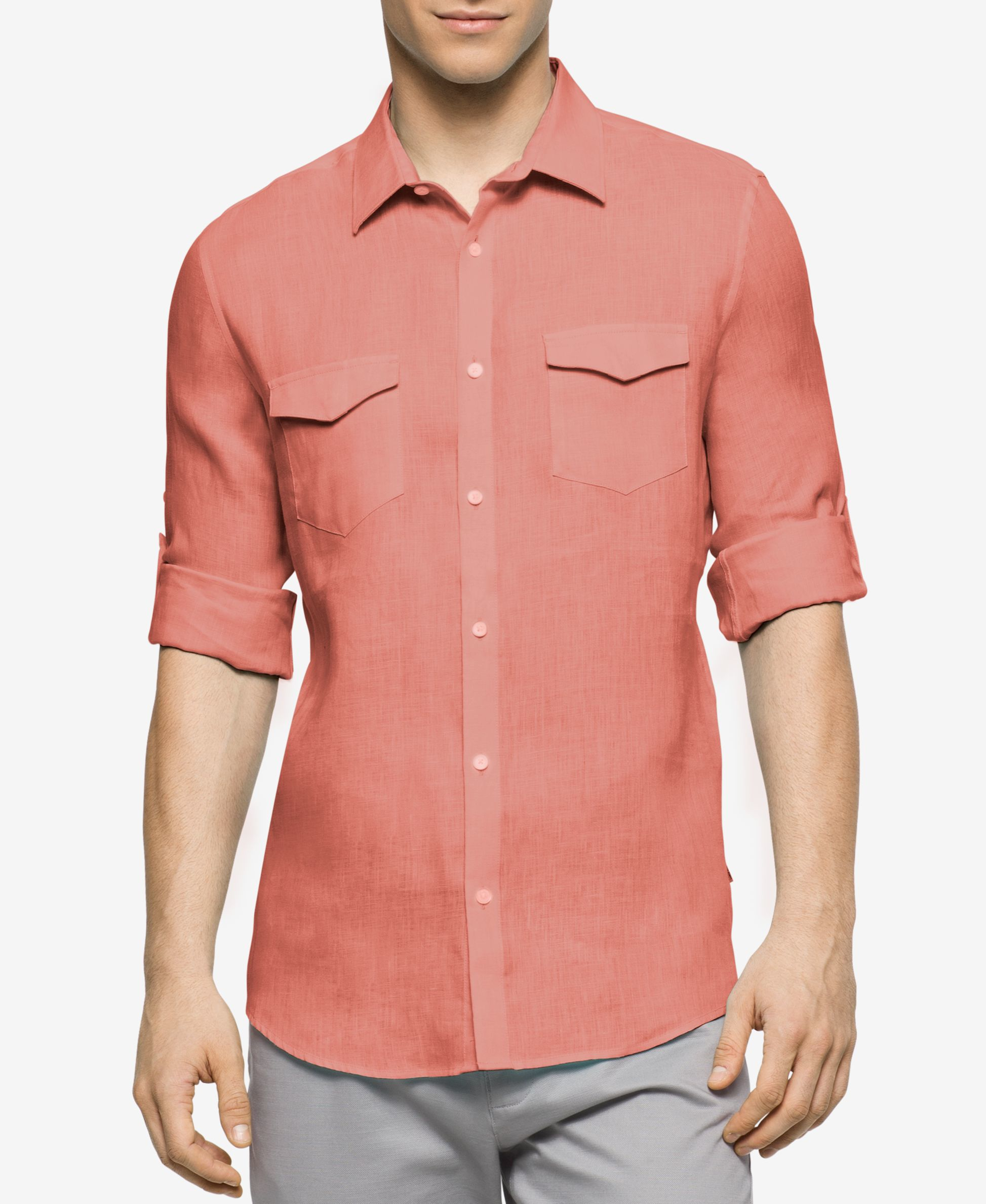 Calvin Klein Men 39 S Roll Tab Long Sleeve Shirt In Red For