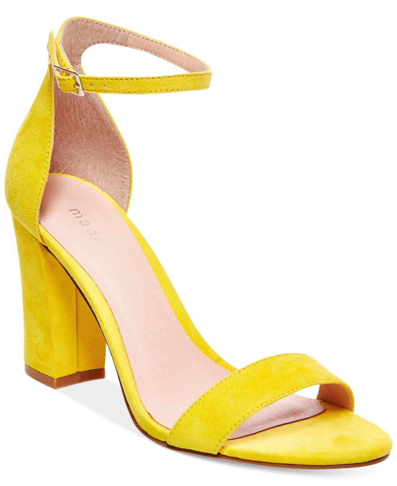Madden Girl Bella Block Heel Faux Suede Sandals In Yellow