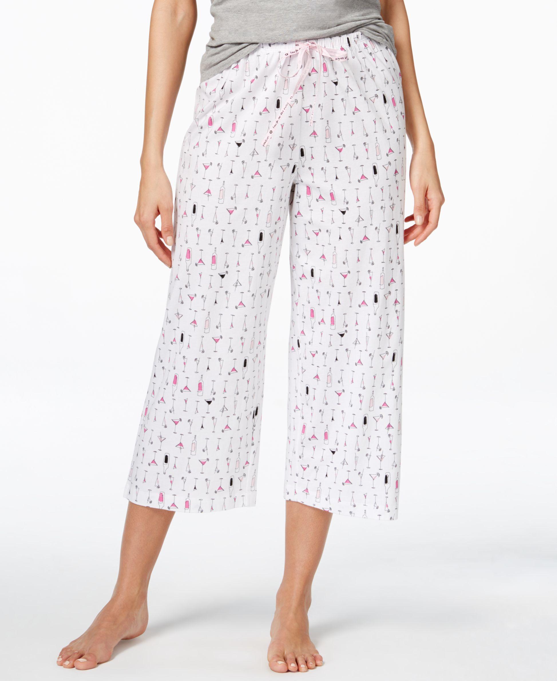 lyst hue cocktails print capri pajama pants in white. Black Bedroom Furniture Sets. Home Design Ideas