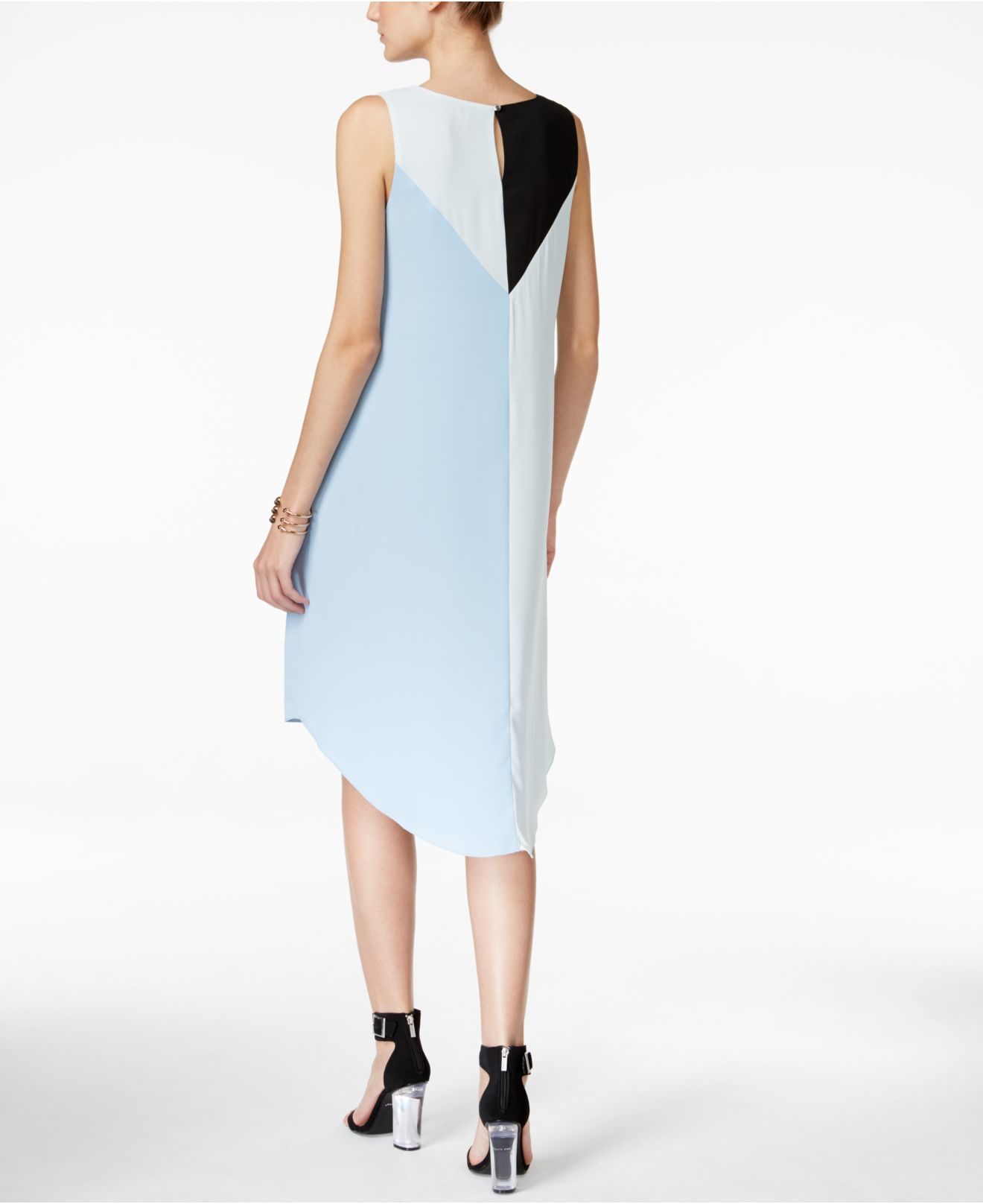 Vince Camuto Colorblocked High Low Shift Dress In Black Lyst