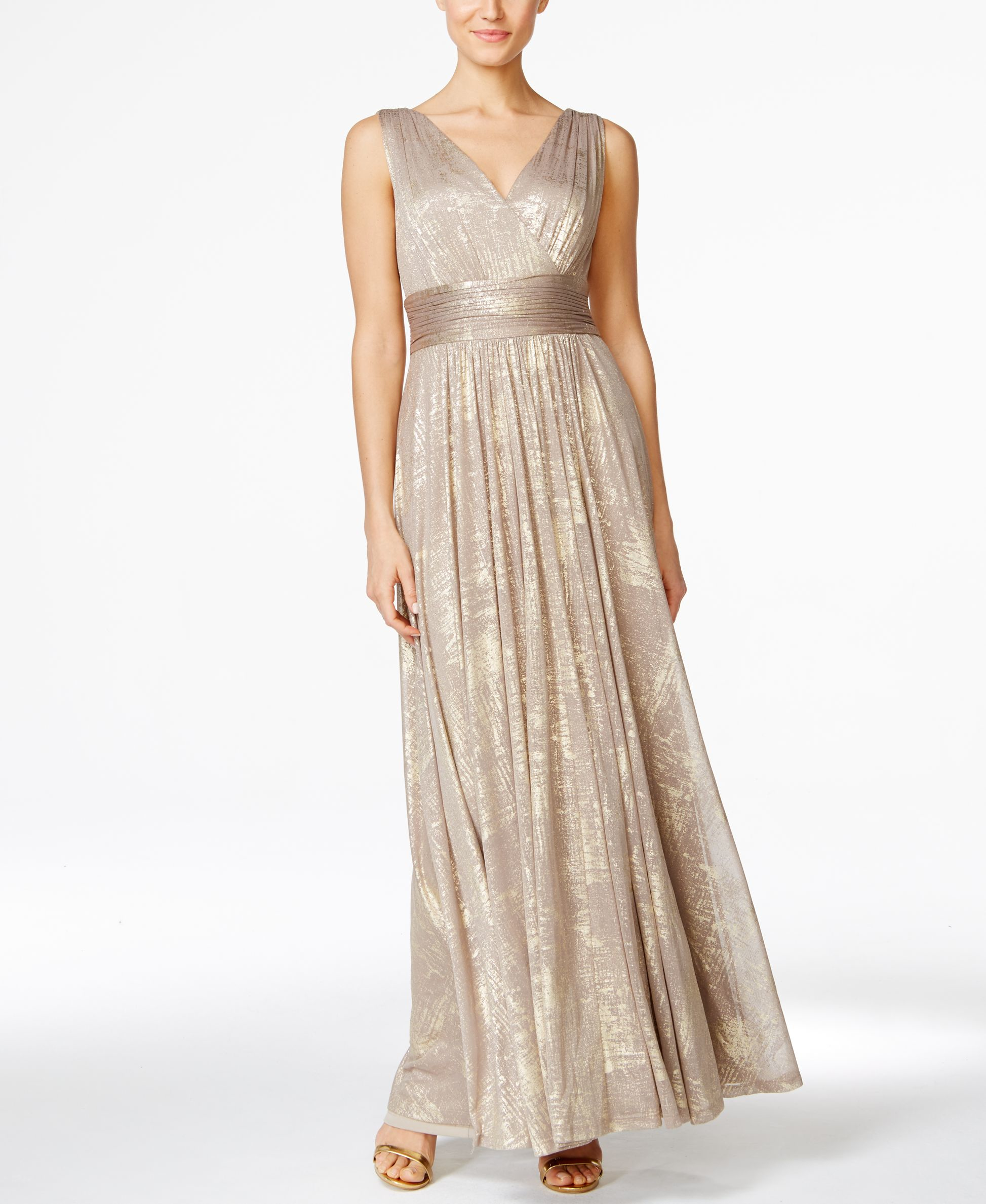 Lyst - Calvin Klein Empire-waist Metallic Gown in Brown