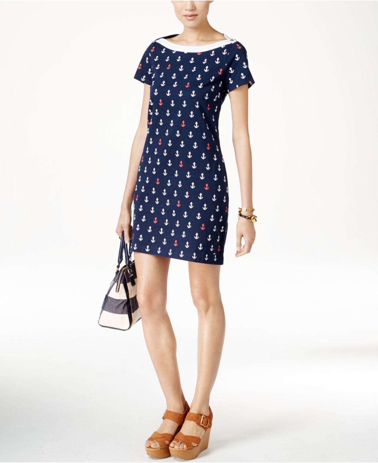 Tommy Hilfiger Asher Anchor-print Sheath Dress In Blue